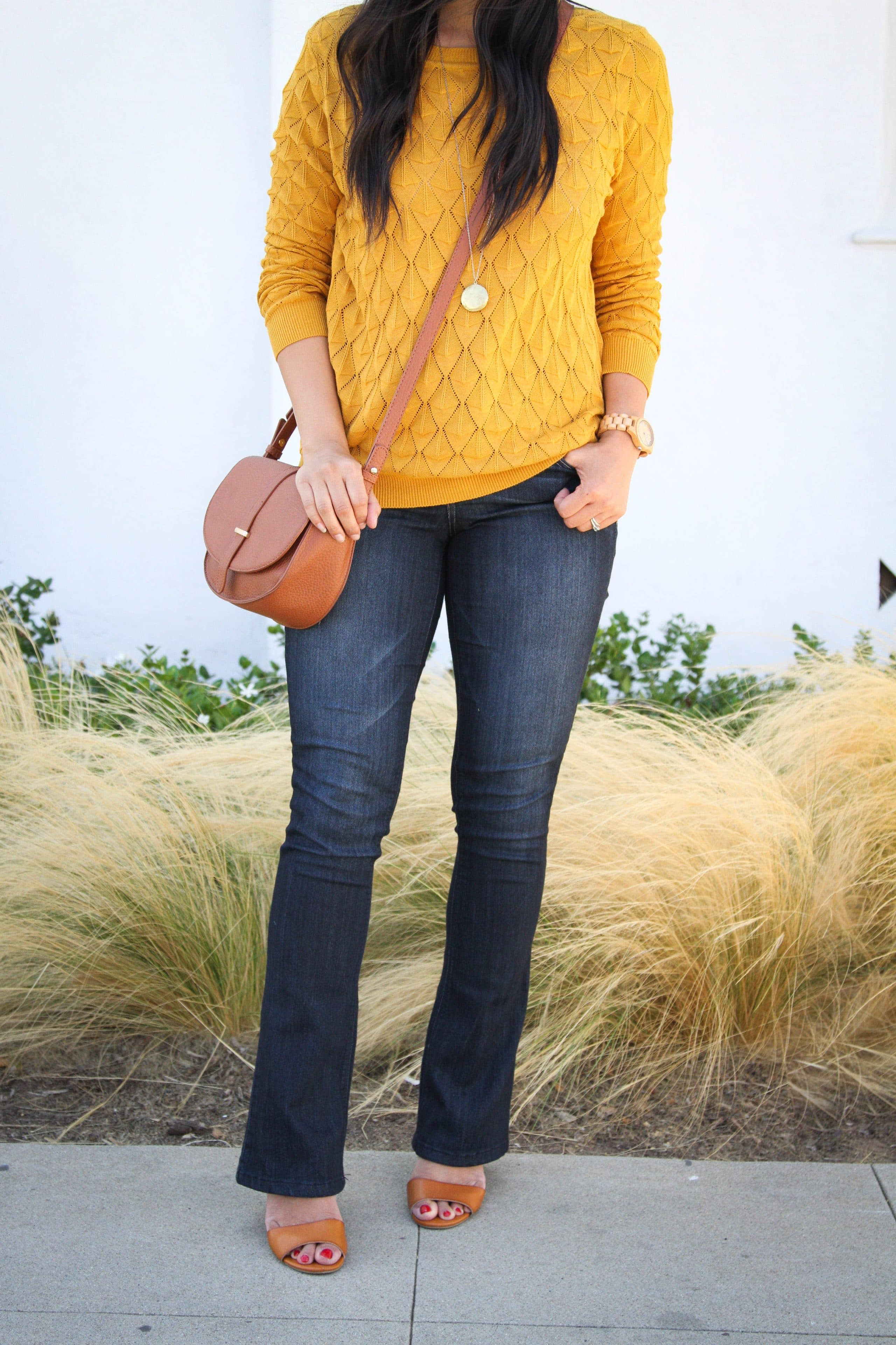 bootcut jeans + mustard sweater + wedges