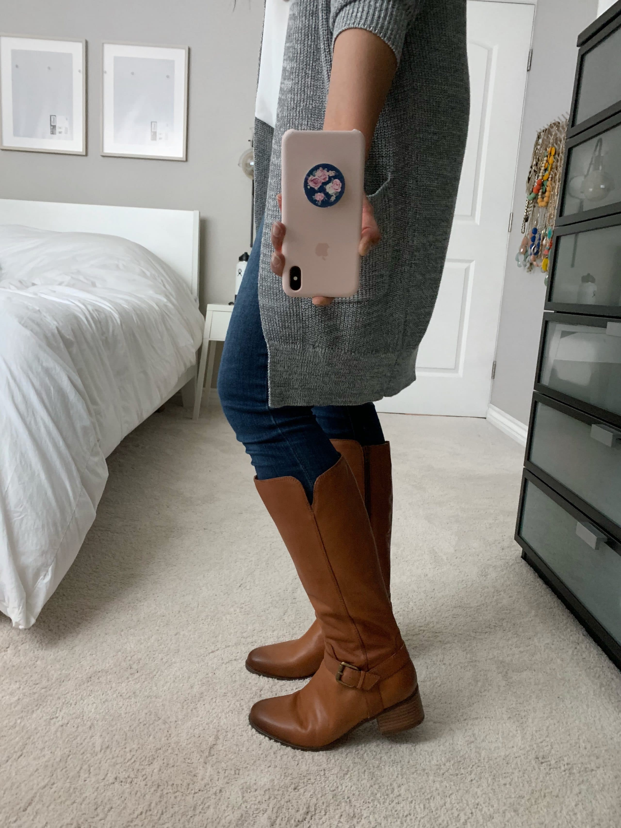 casual fall outfit: grey cardigan + white top + jeans + tan riding boots