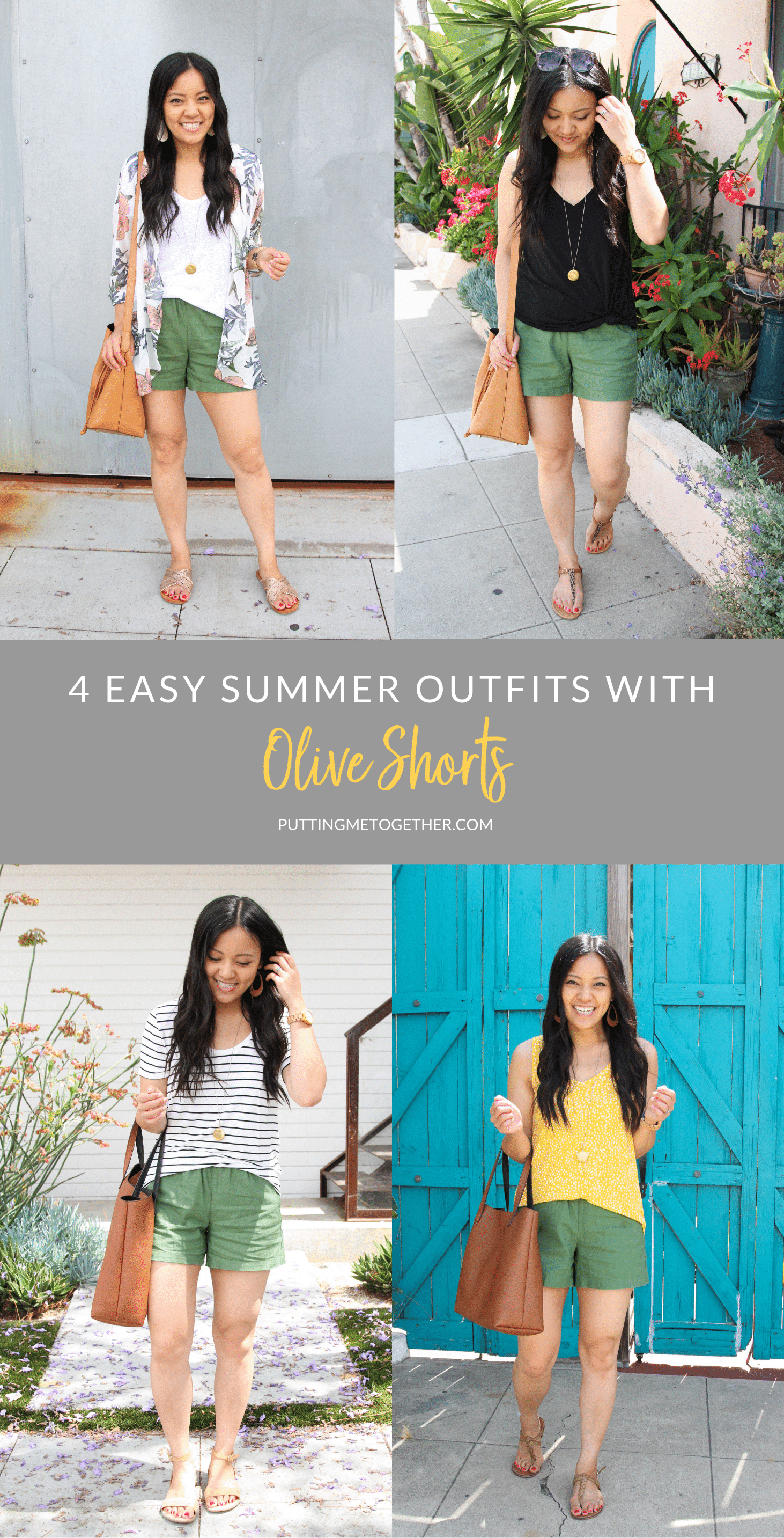 Four Summer Outfits With Olive Shorts