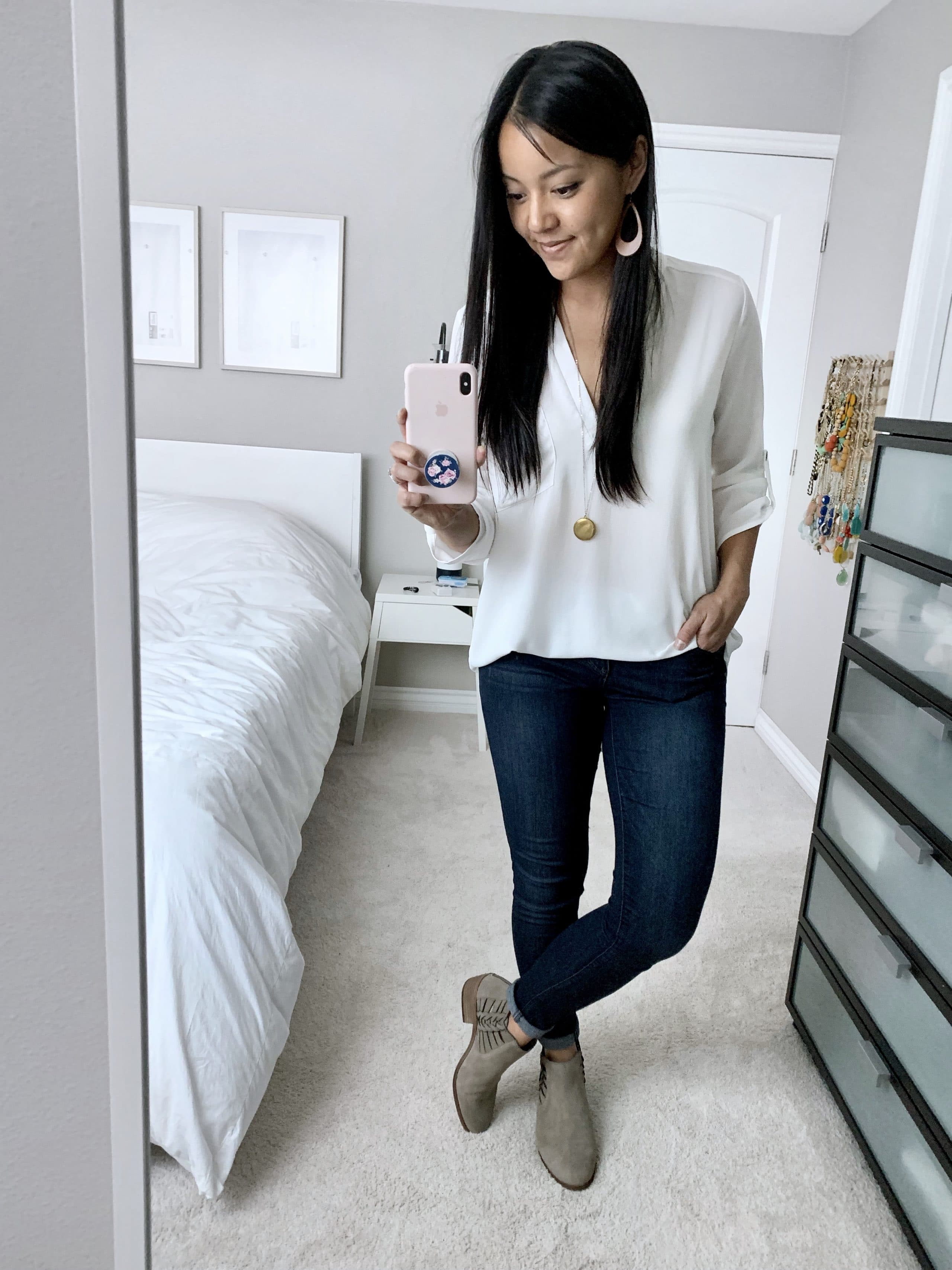 white top + jeans + taupe or grey booties
