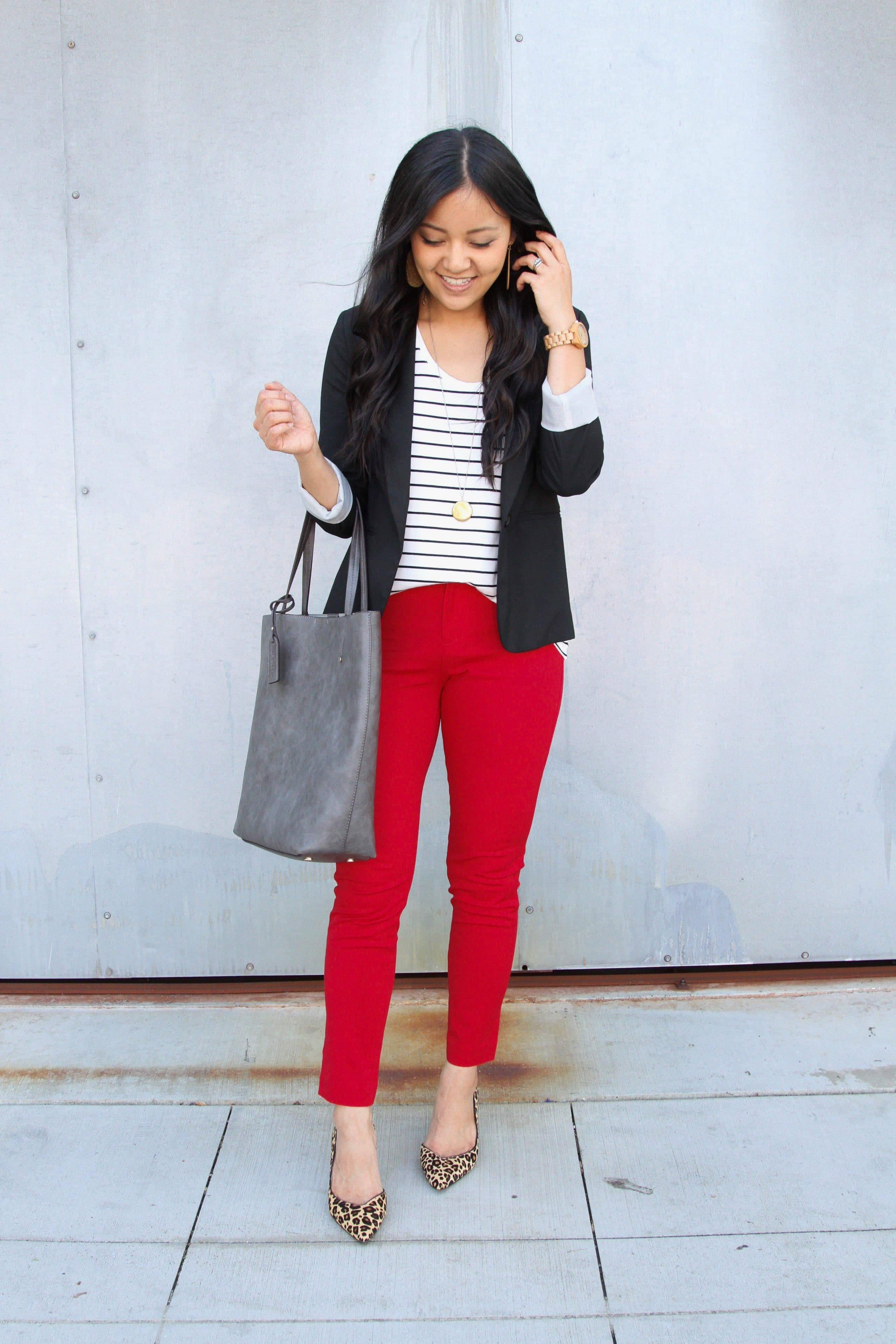 black blazer + red pants + black and white striped tee + leopard print heels + grey tote