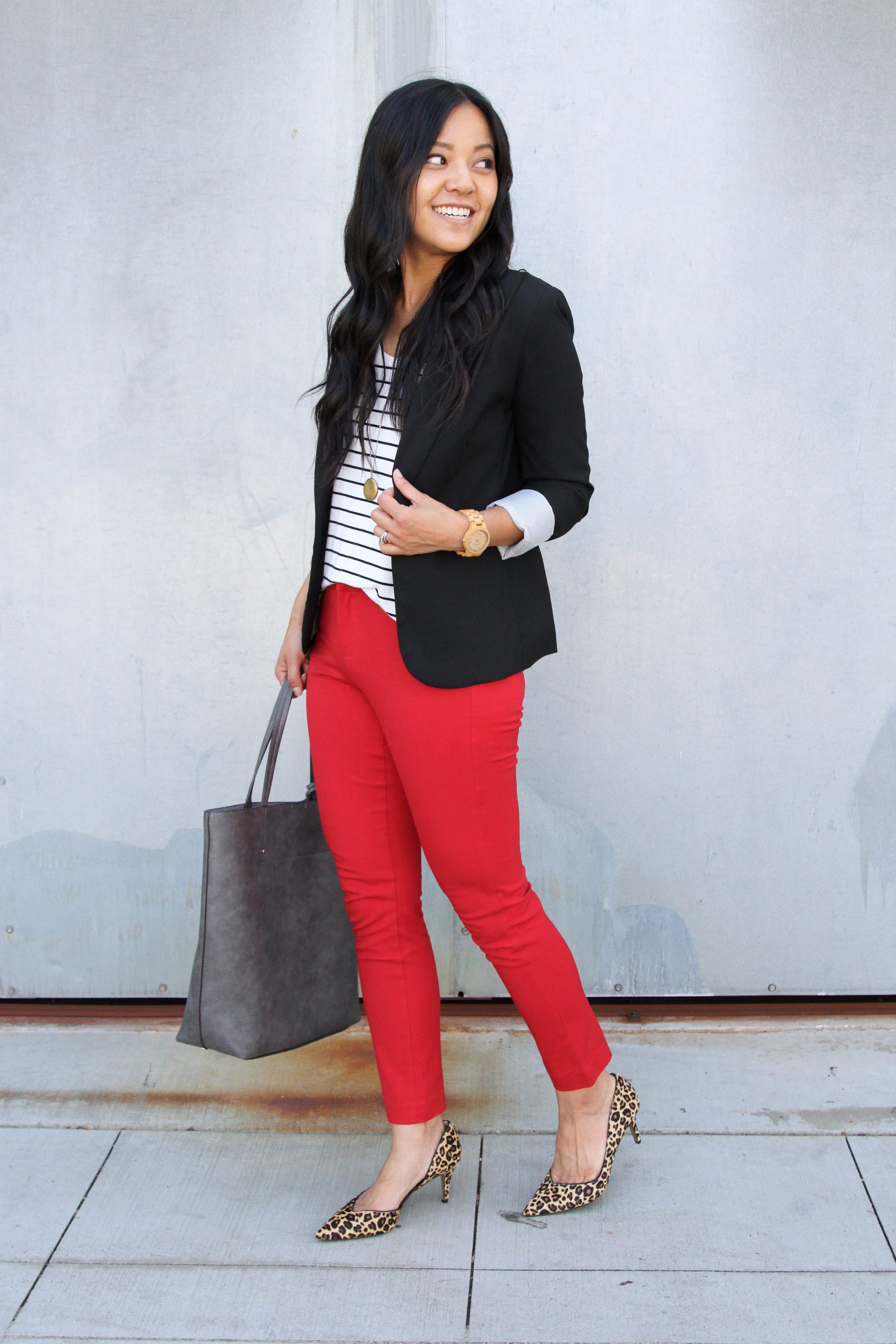 red pants + black and white striped tee + black blazer + leopard print heels + grey tote