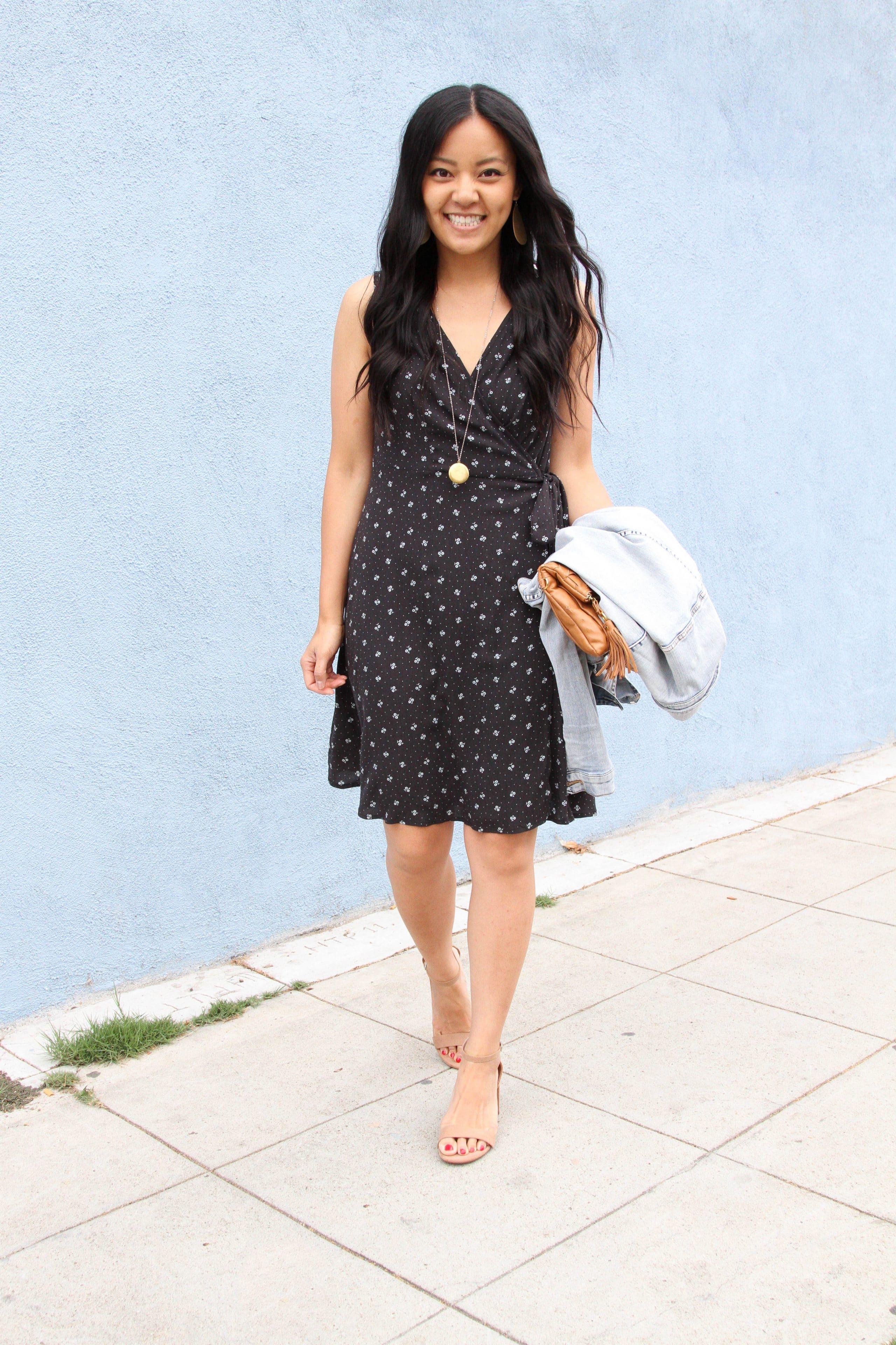 taupe block heel sandals + black floral wrap dress + pendant necklace + cognac clutch