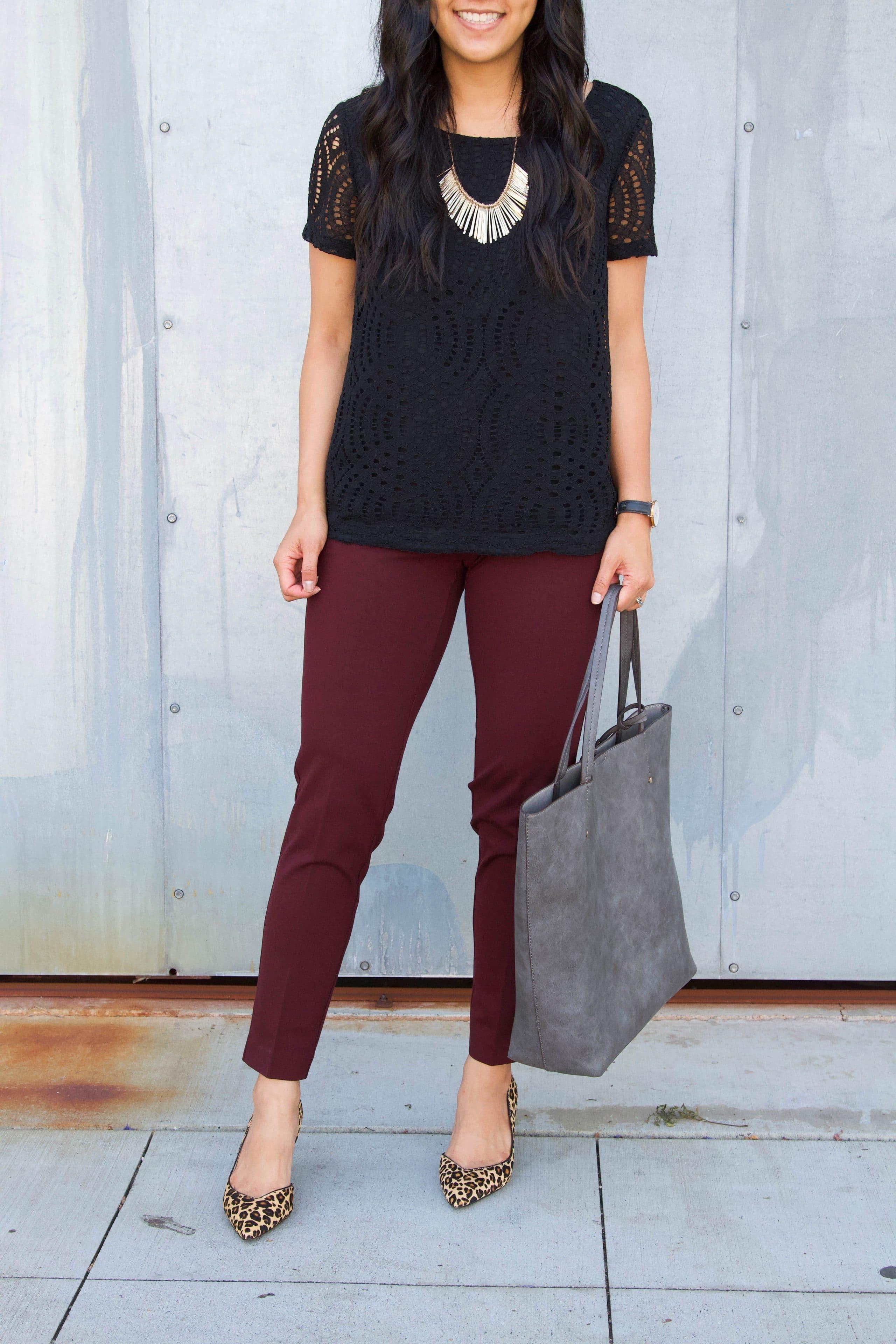 black lace top + leopard print heels + maroon pants + grey tote + statement necklace