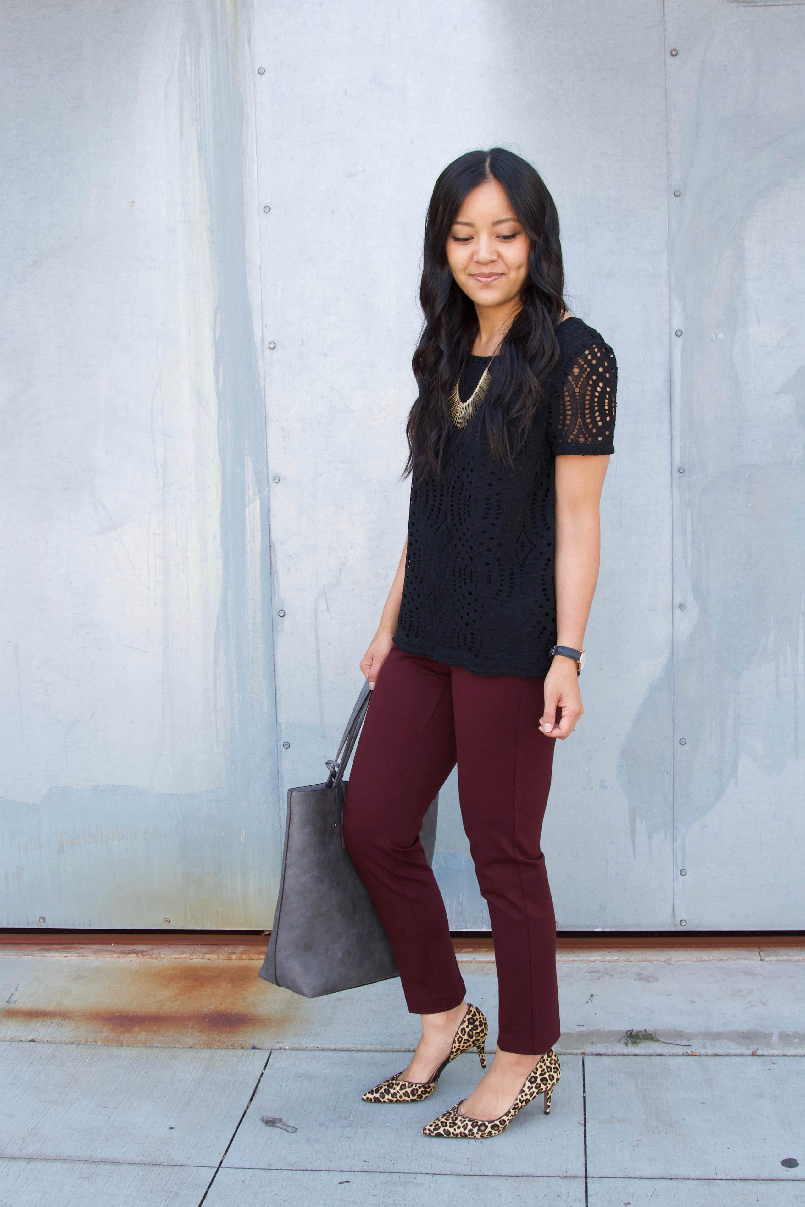 maroon pants + black lace top + leopard print heels + grey tote + statement necklace