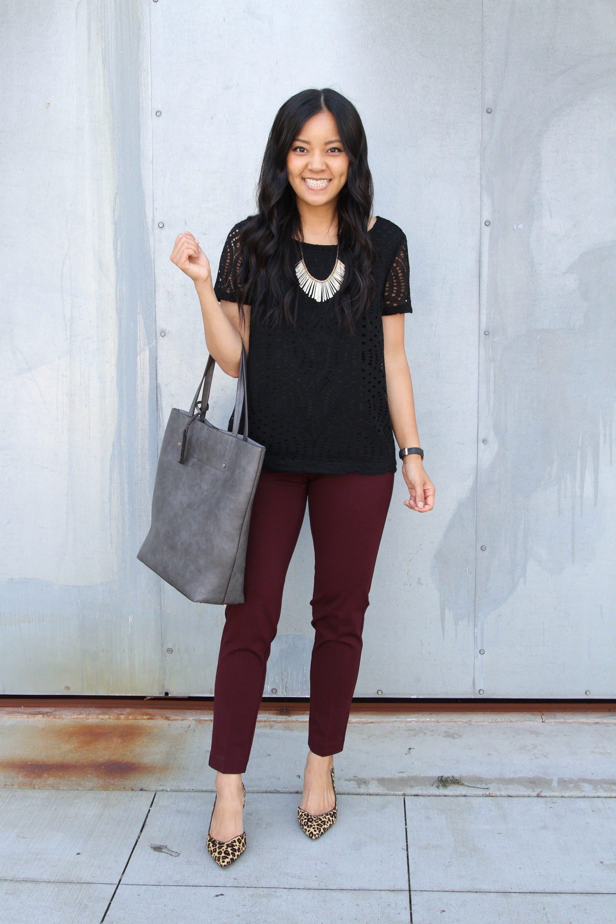 black lace top + maroon pants + leopard print heels + grey tote + statement necklace