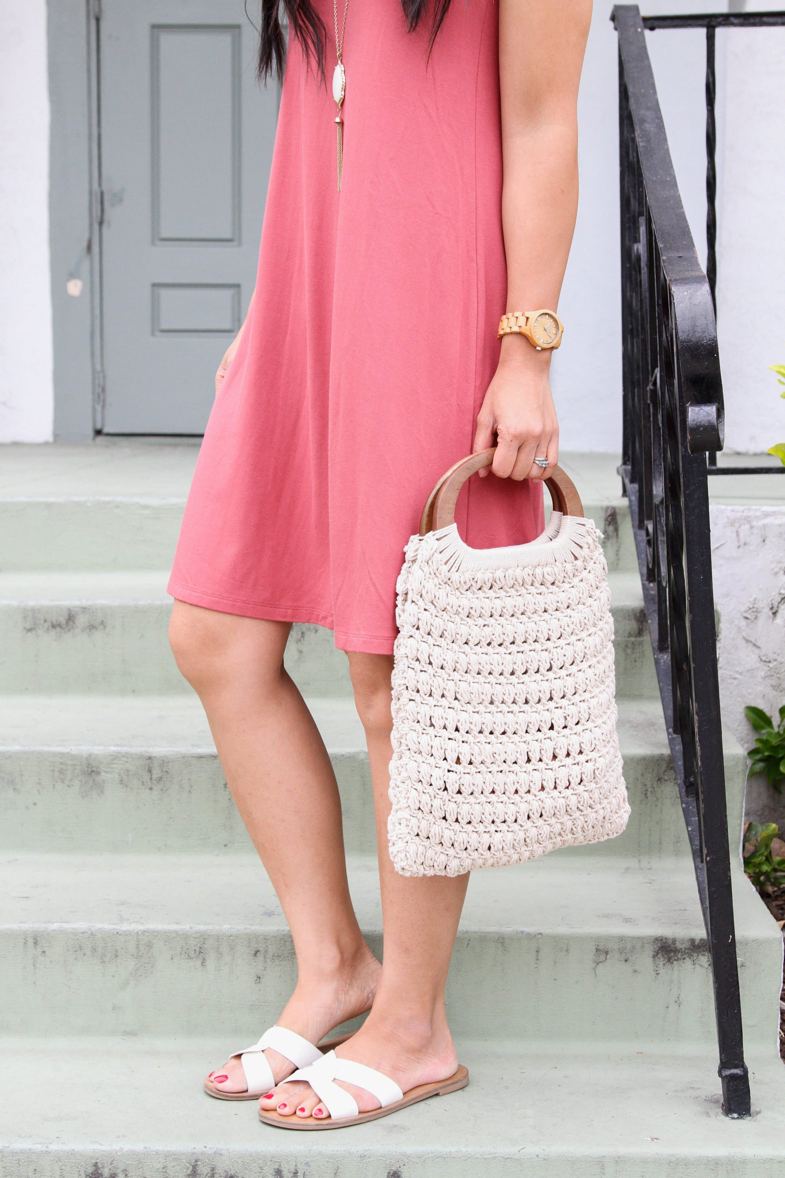 dusty pink swing dress + macrame handbag + white sandals