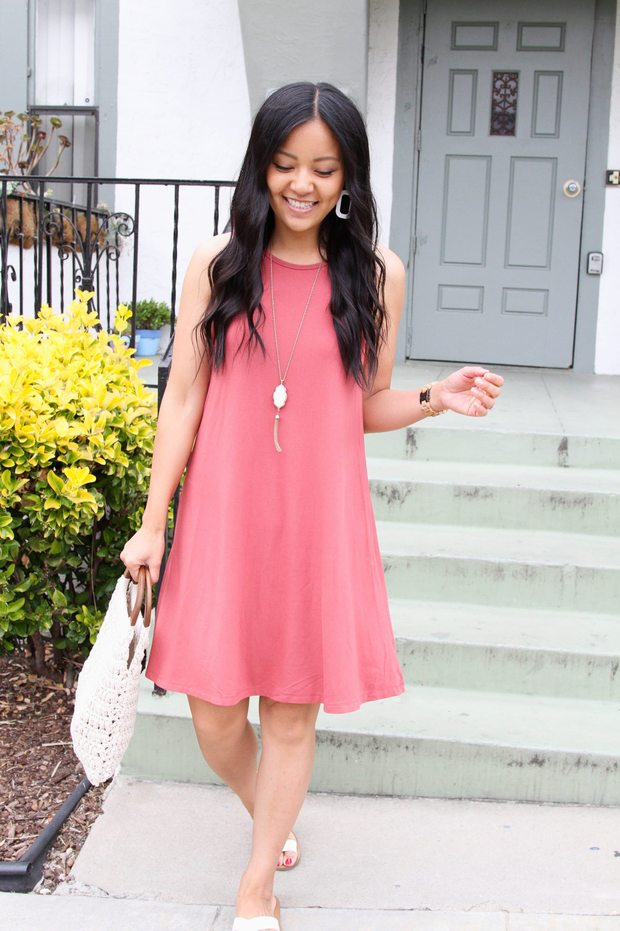 dusty pink swing dress + white sandals + macrame handbag +long pendant necklace
