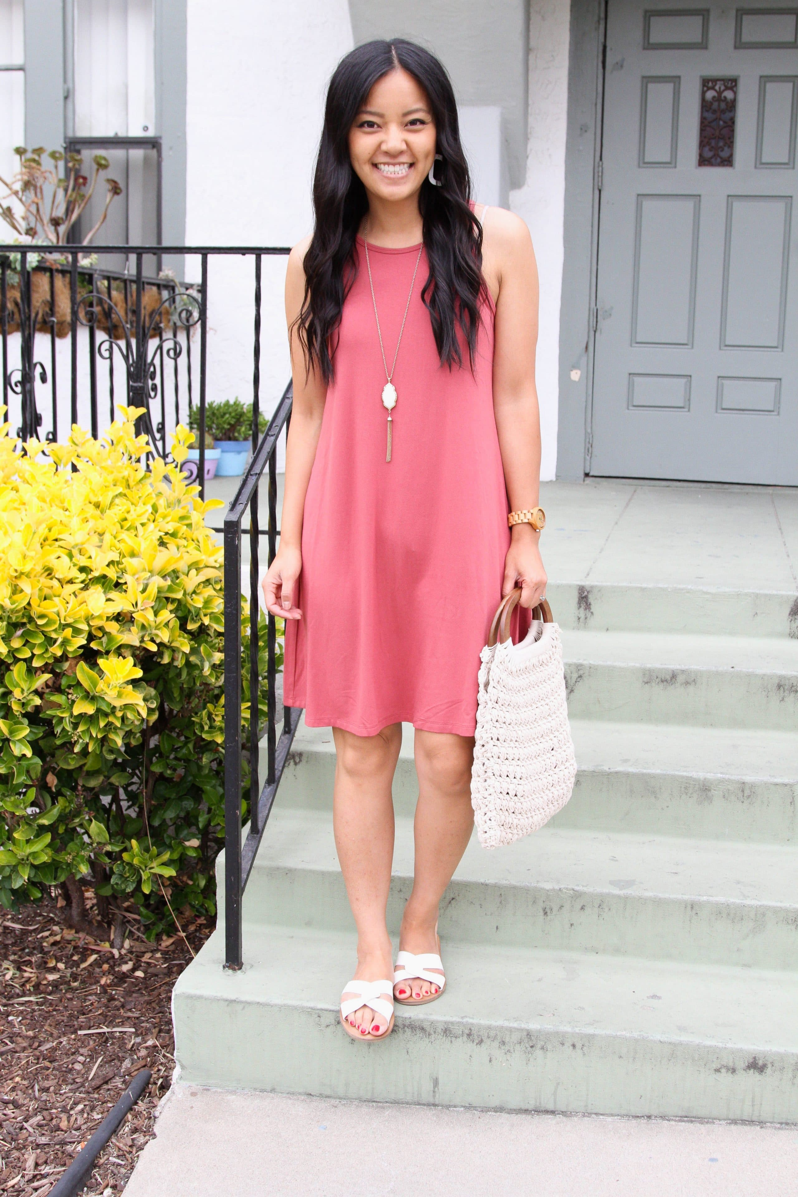 macrame handbag + white sandals + dusty pink swing dress + long pendant necklace