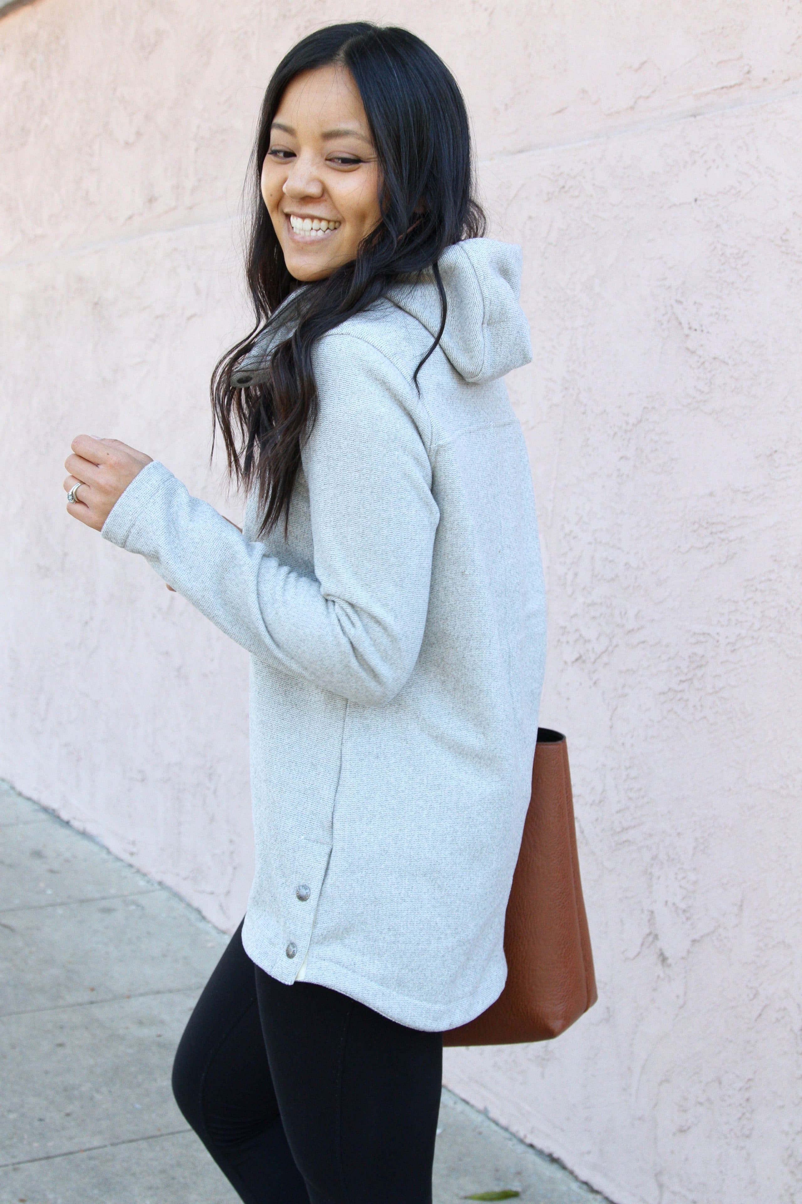 black leggings + grey fleece
