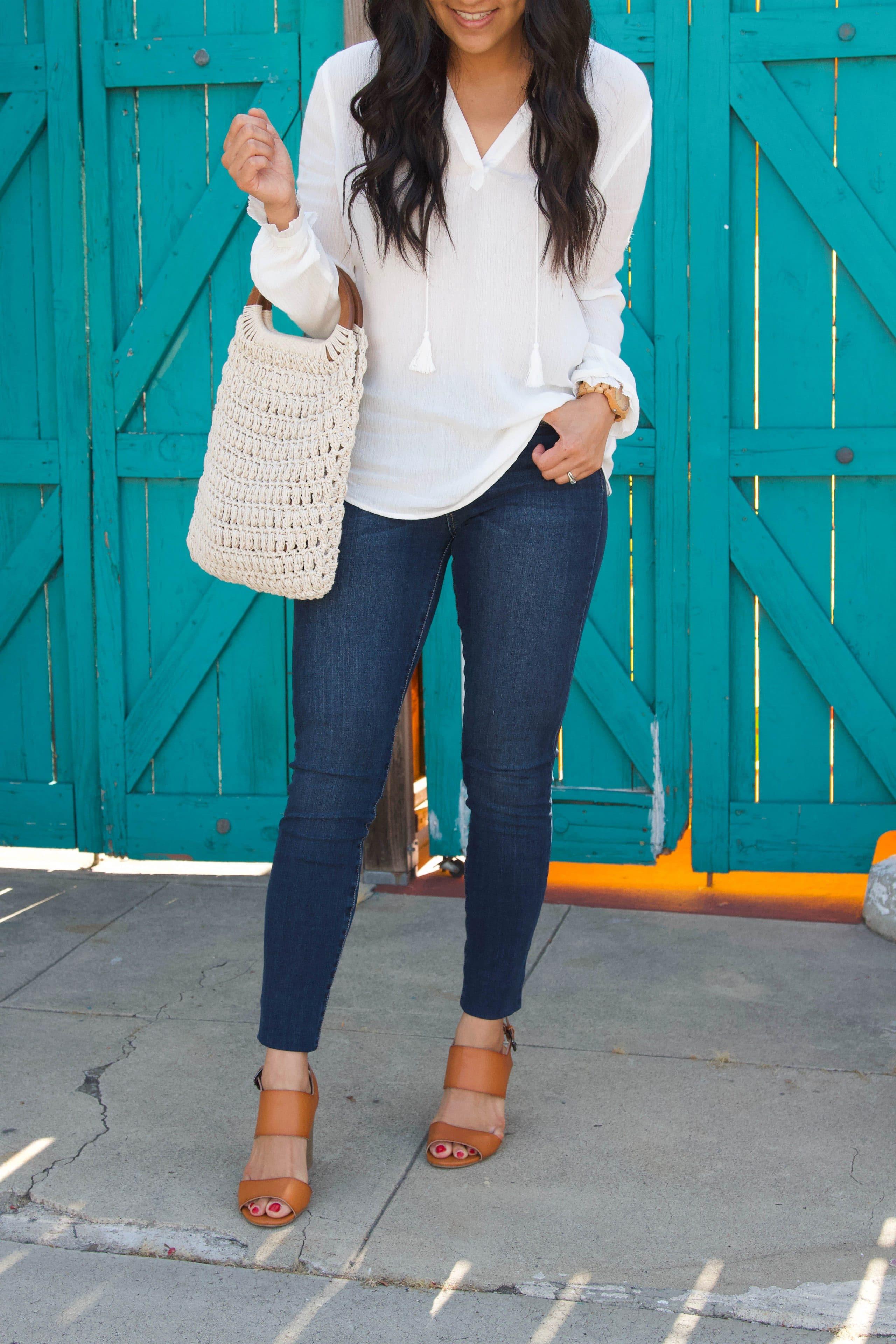 jeans + white blouse + cognac heels + white macrame bag