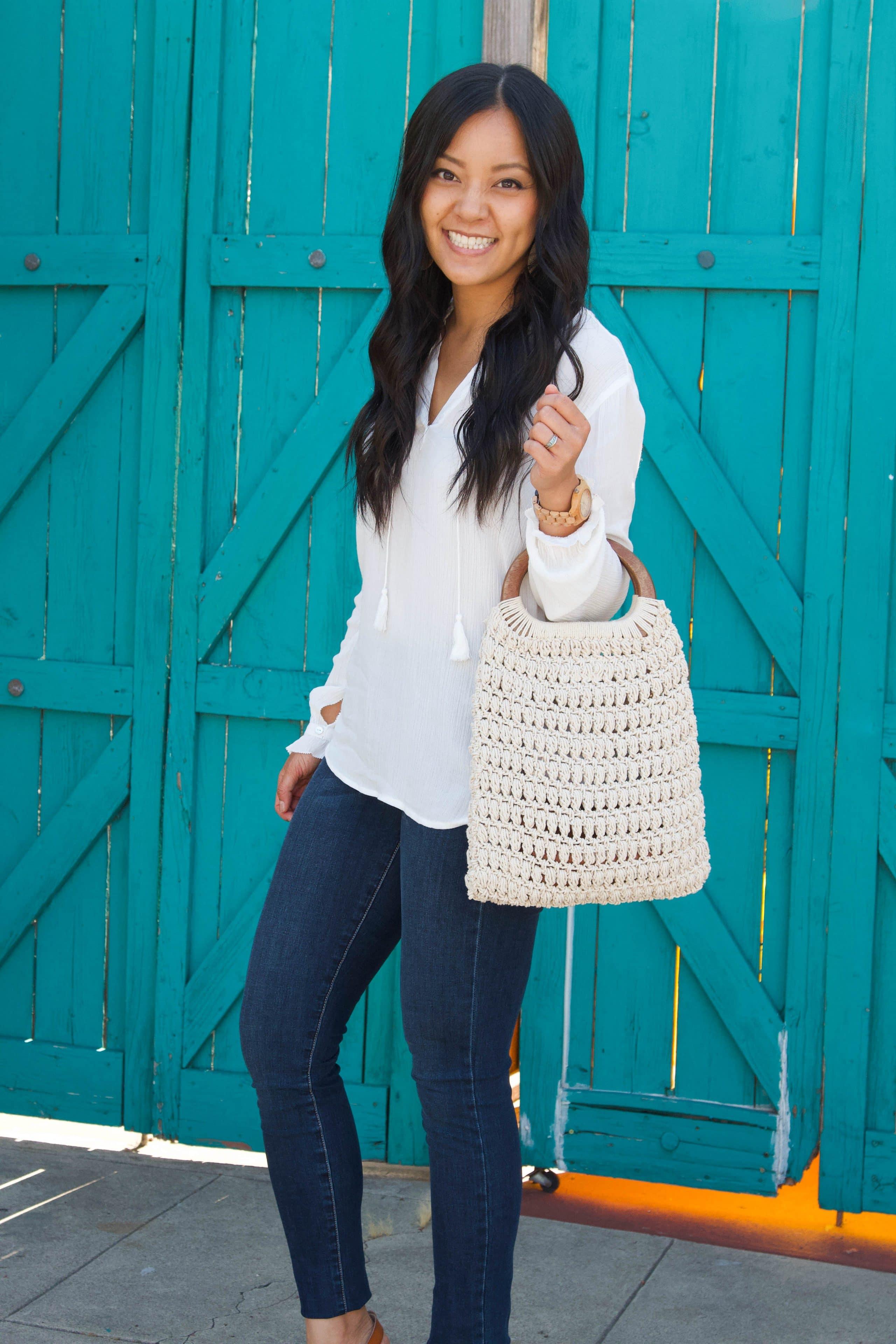 white macrame handbag + jeans + white blouse