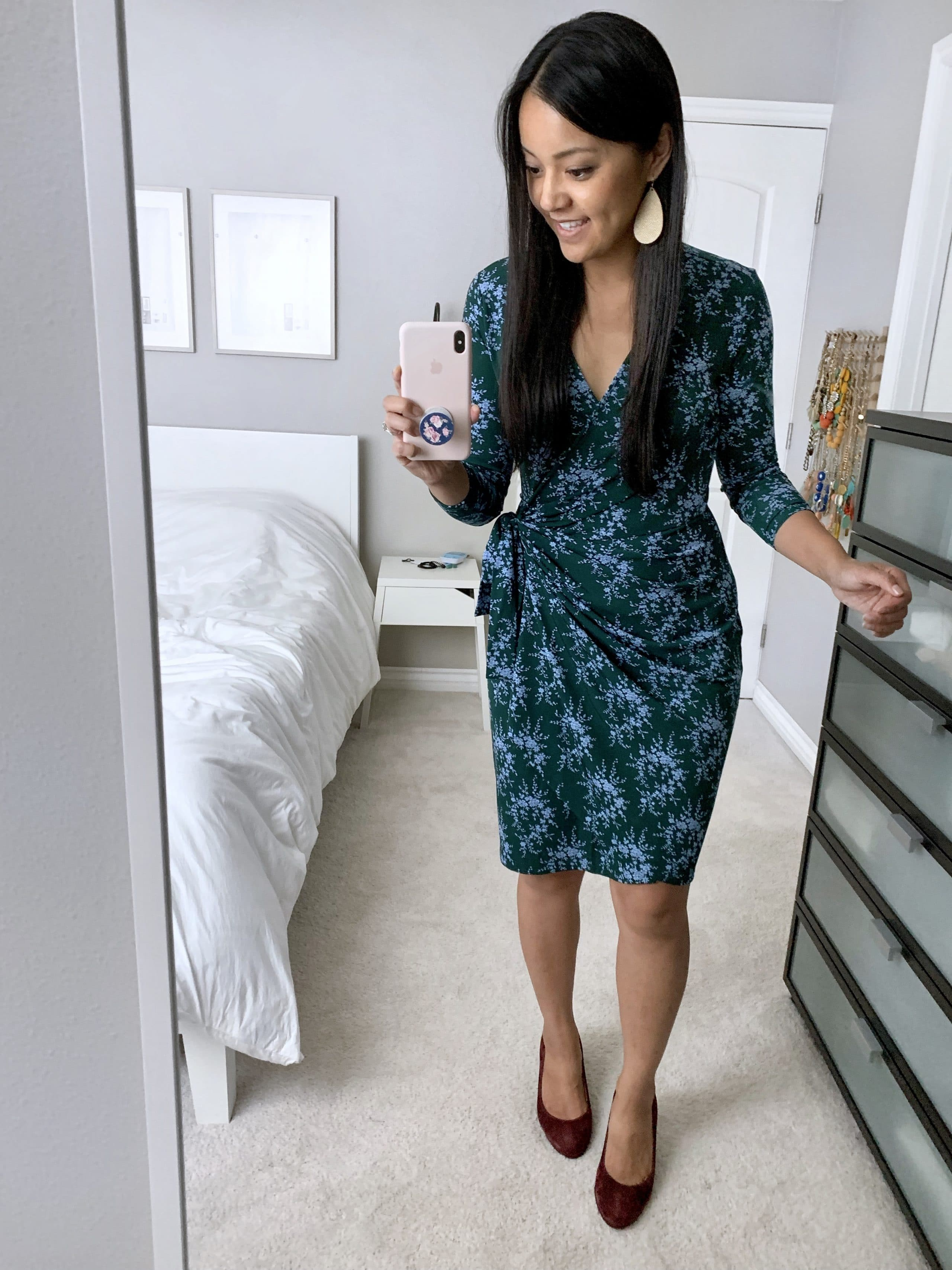 Amazon green printed wrap dress business casual outfit