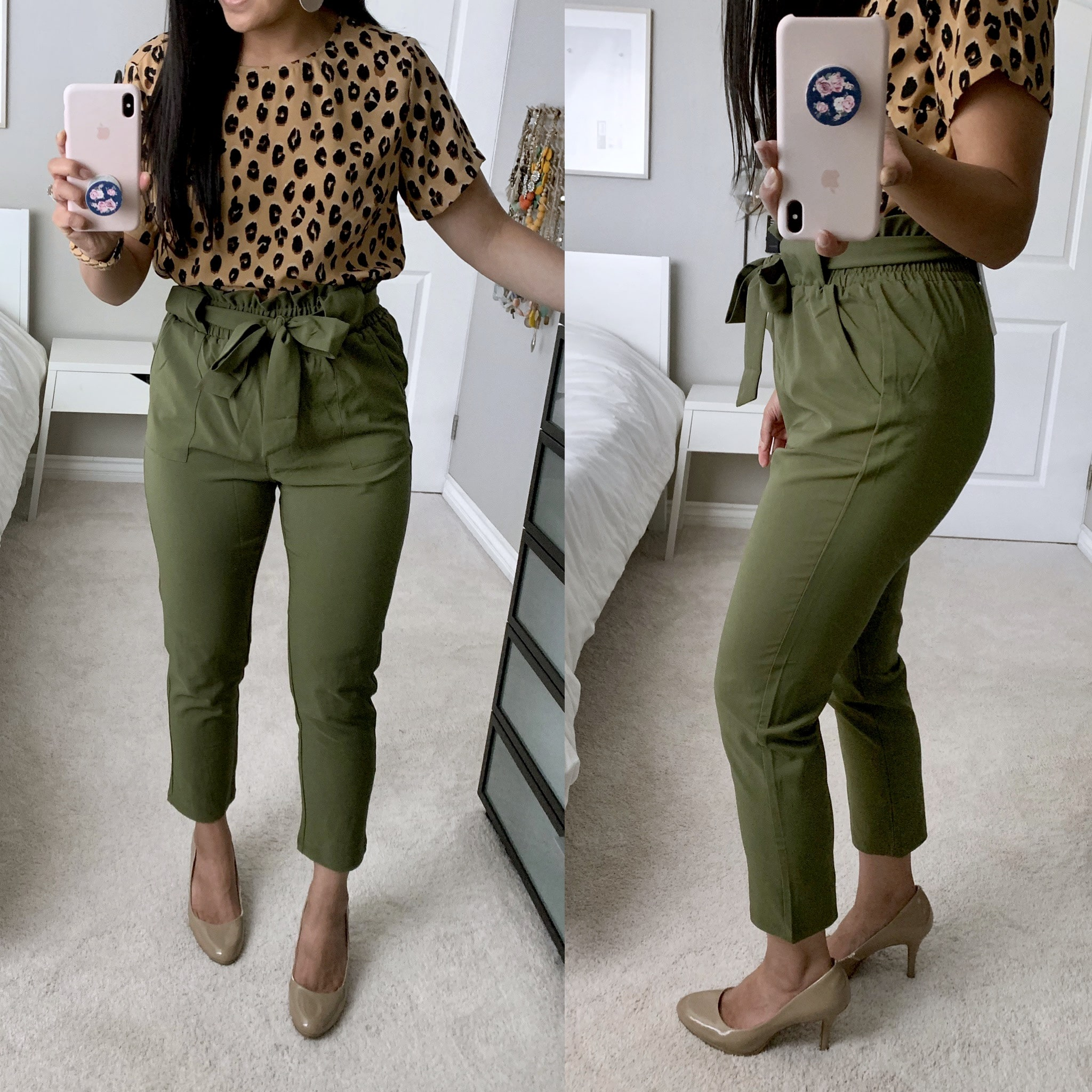 review of olive paper bag waist pants from amazon