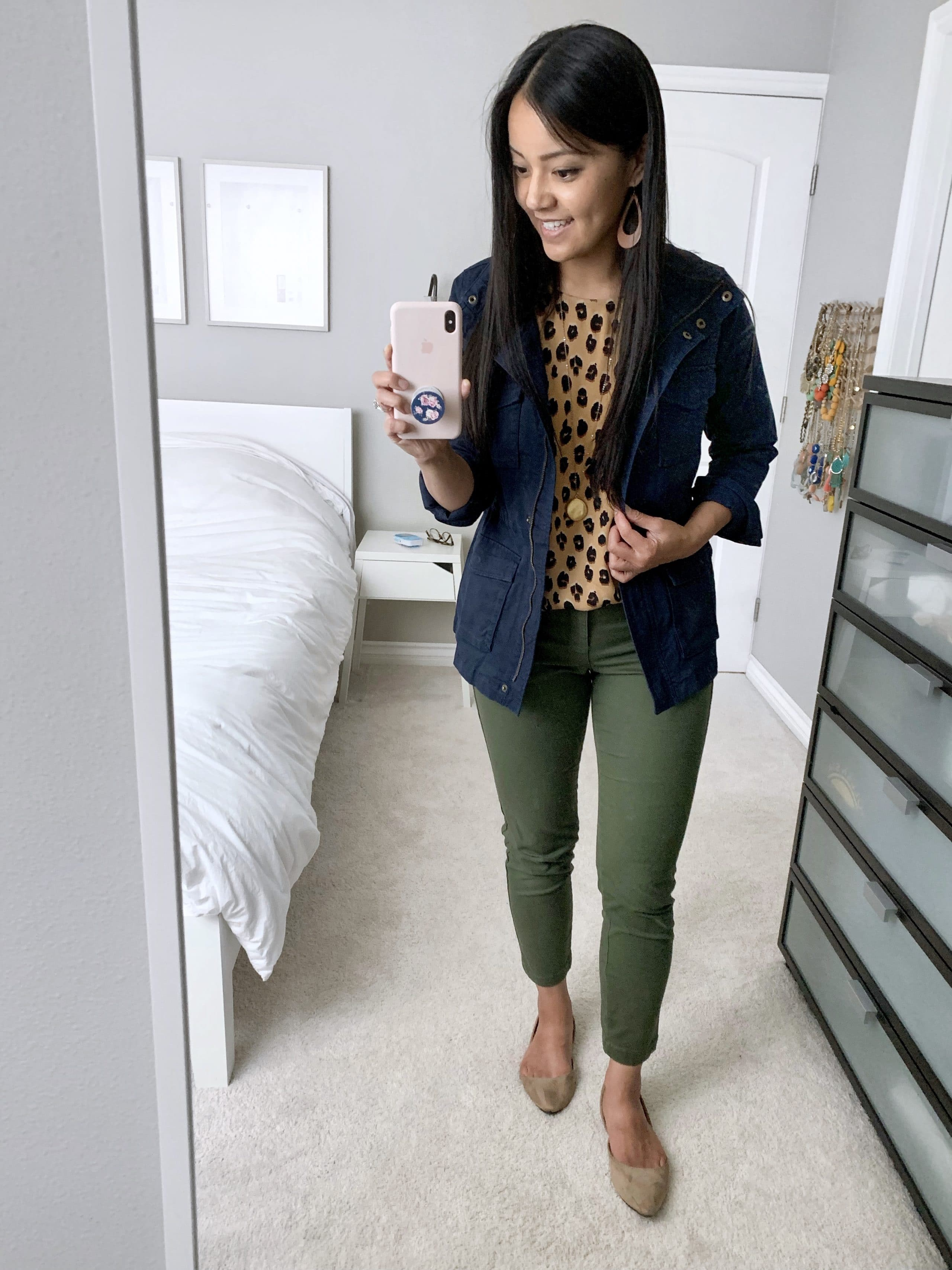 fall casual outfit utility jacket + olive pants + leopard print top