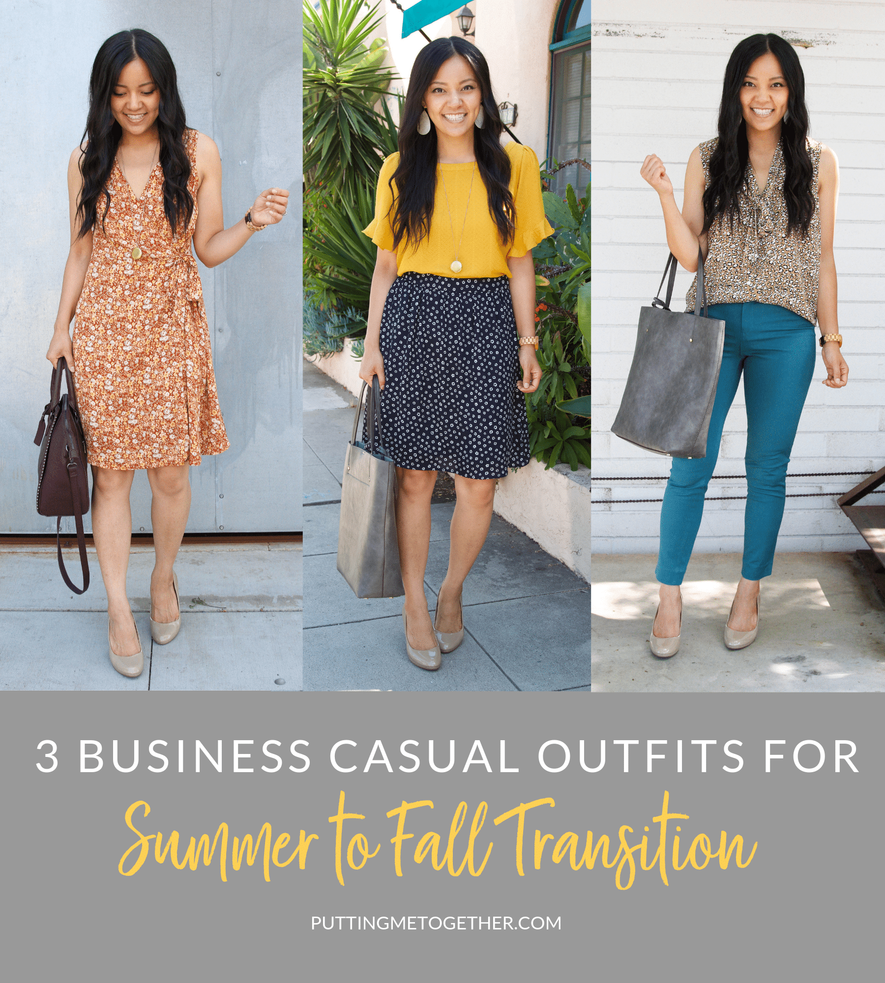 3 BUSINESS CASUAL OUTFITS FOR SUMMER TO FALL TRANSITION