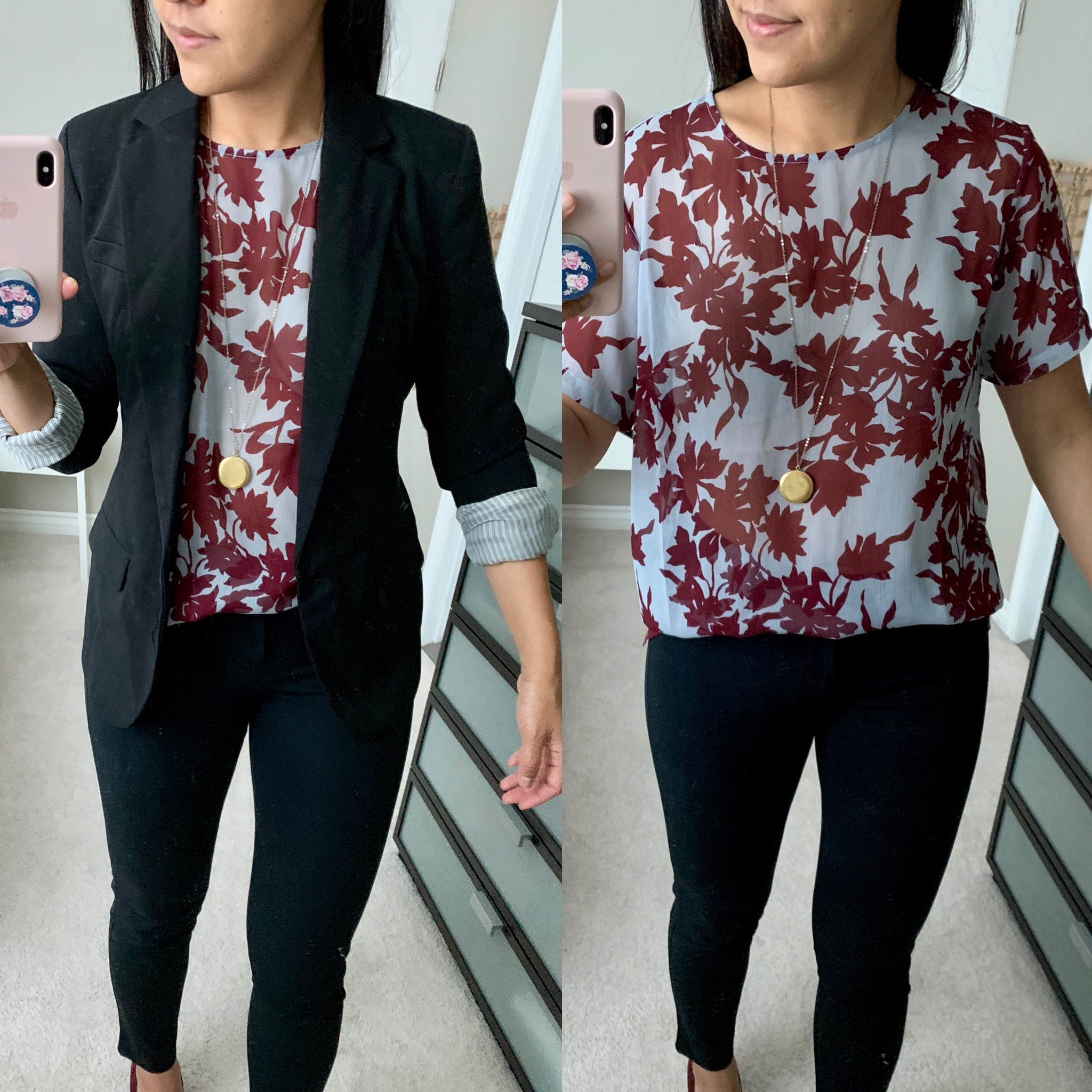 Target blazer and floral top review close up