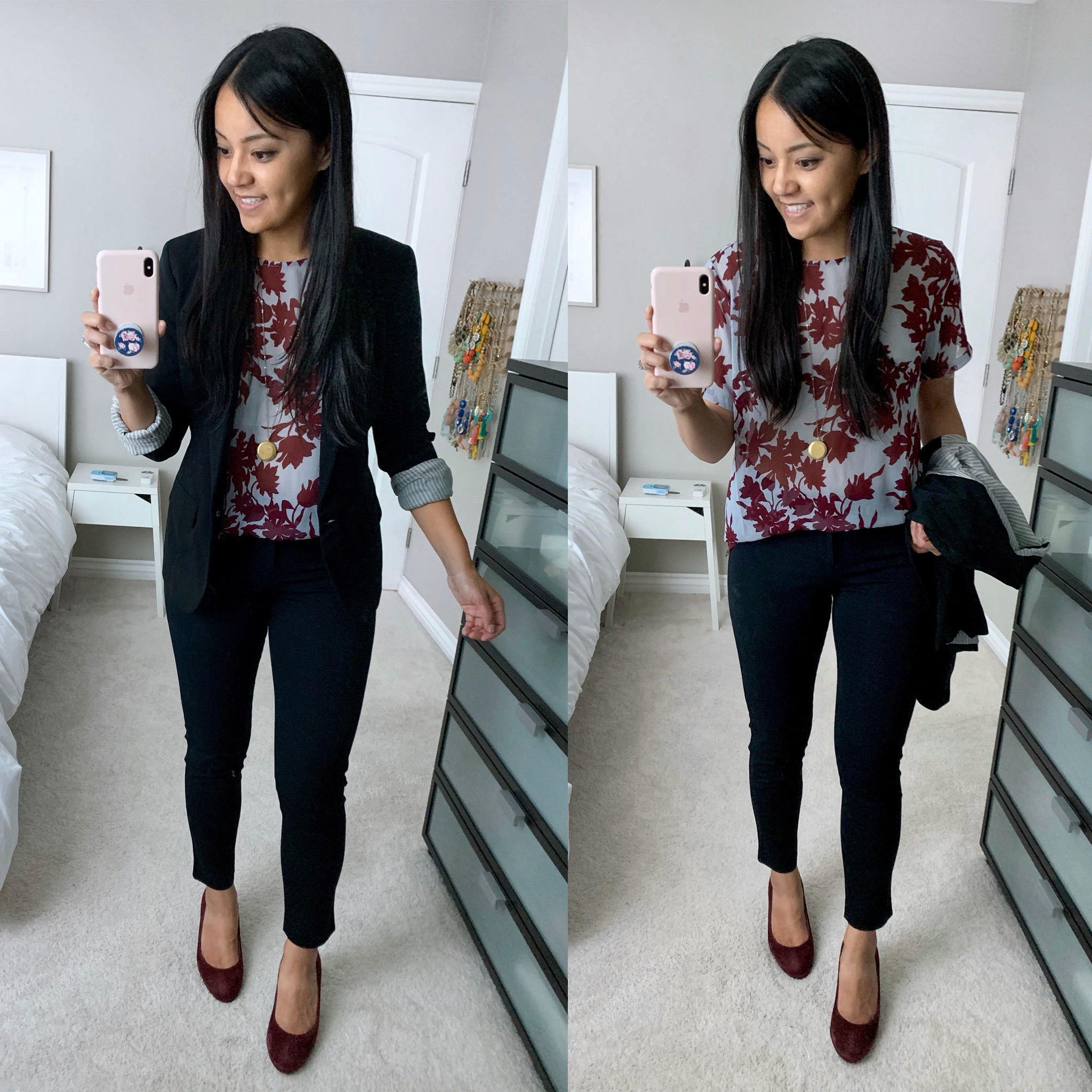 Business Casual Outfit: black blazer + floral top + black pants + maroon heels