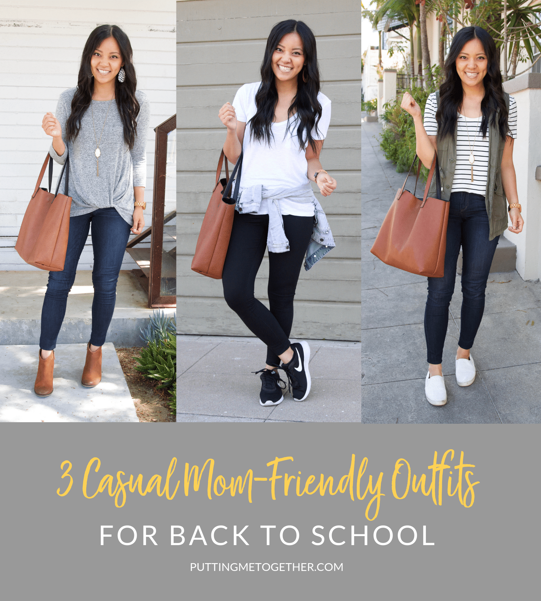 3 Casual Mom-Friendly Outfits for Back to School
