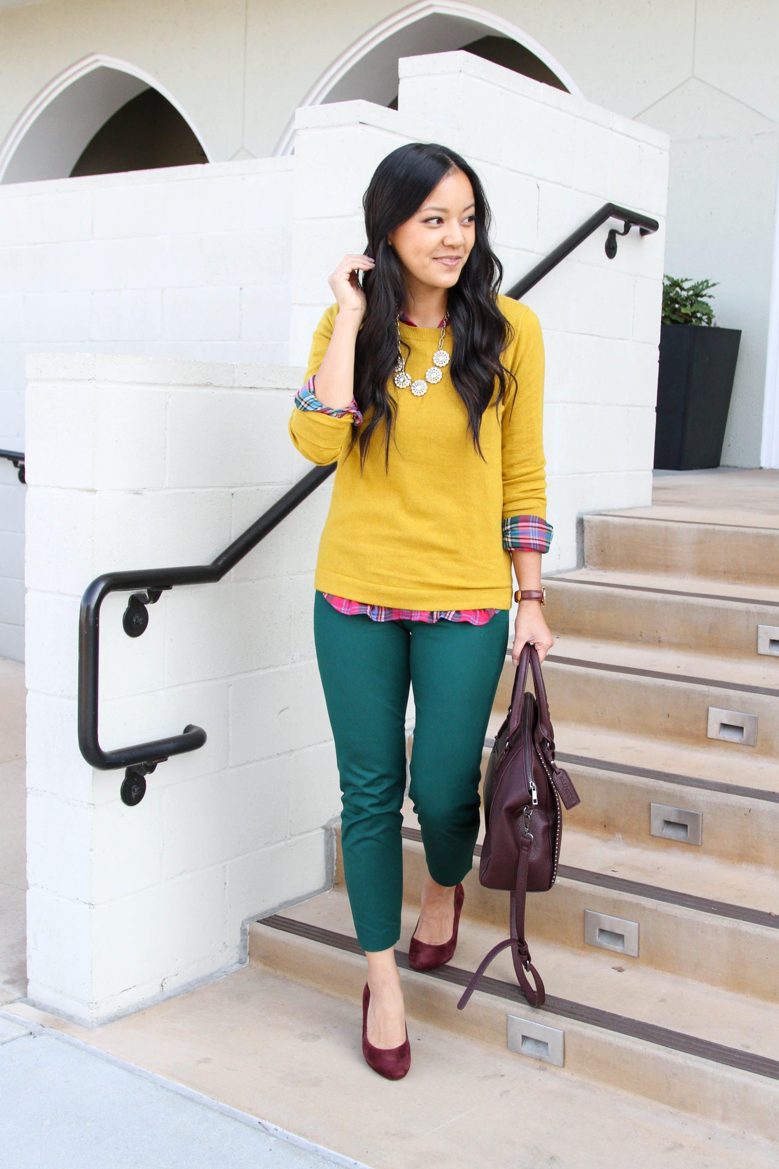 business casual + green slacks + mustard sweater + checkered shirt + maroon pumps + maroon purse