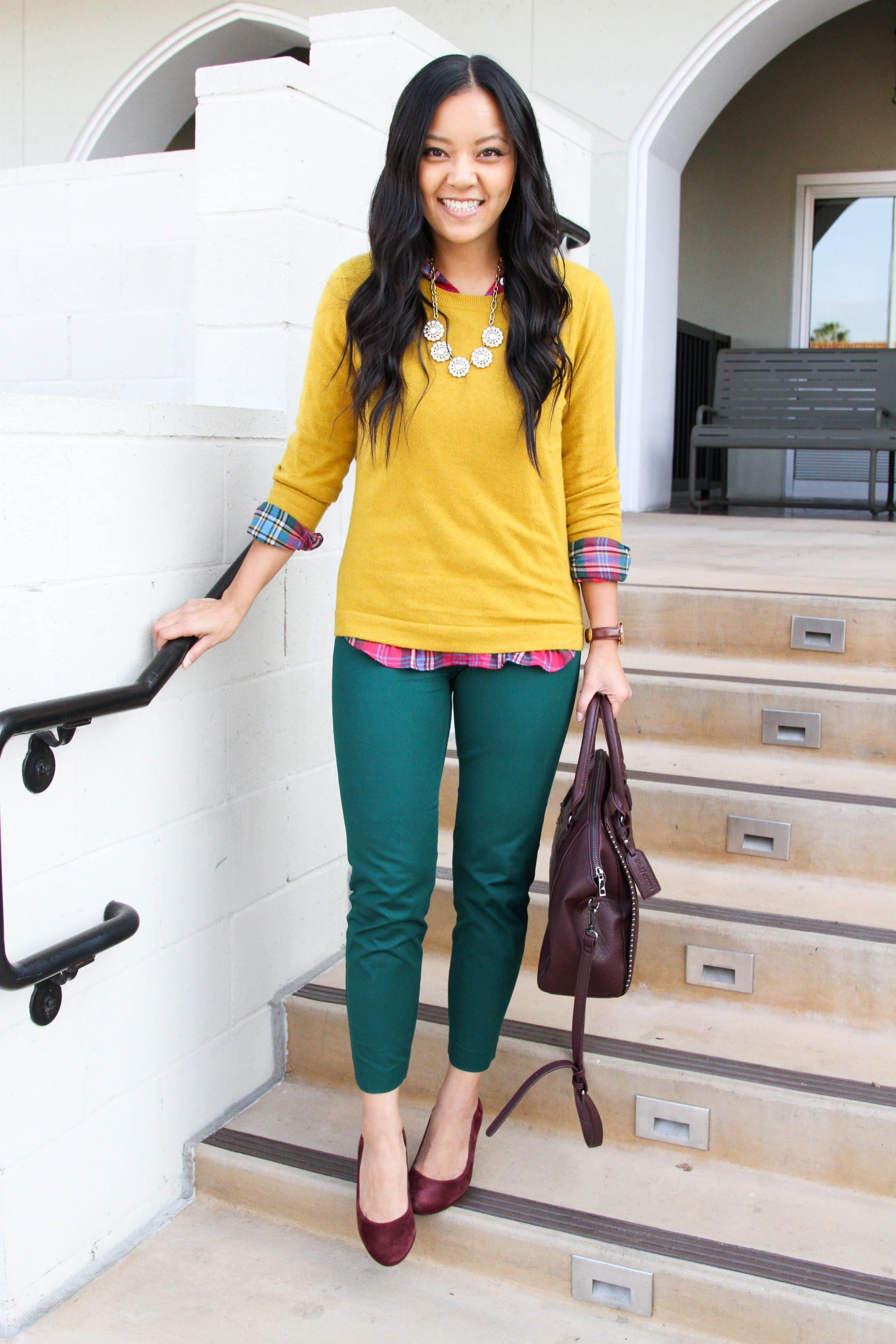 mustard yellow sweater + green slacks + checkered shirt + maroon pumps + maroon purse + business casual