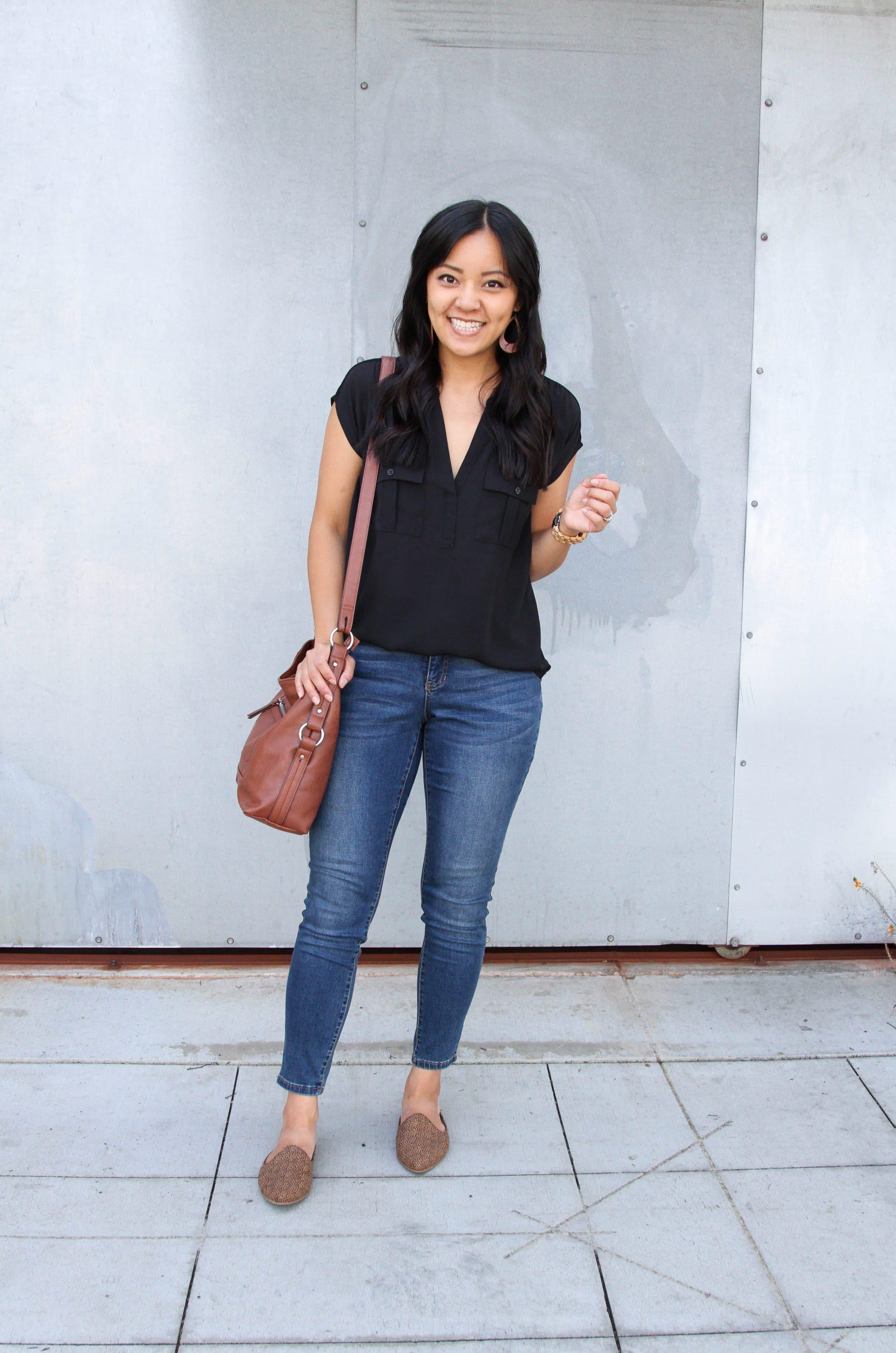 black top + leopard mules + skinny jeans + cognac purse