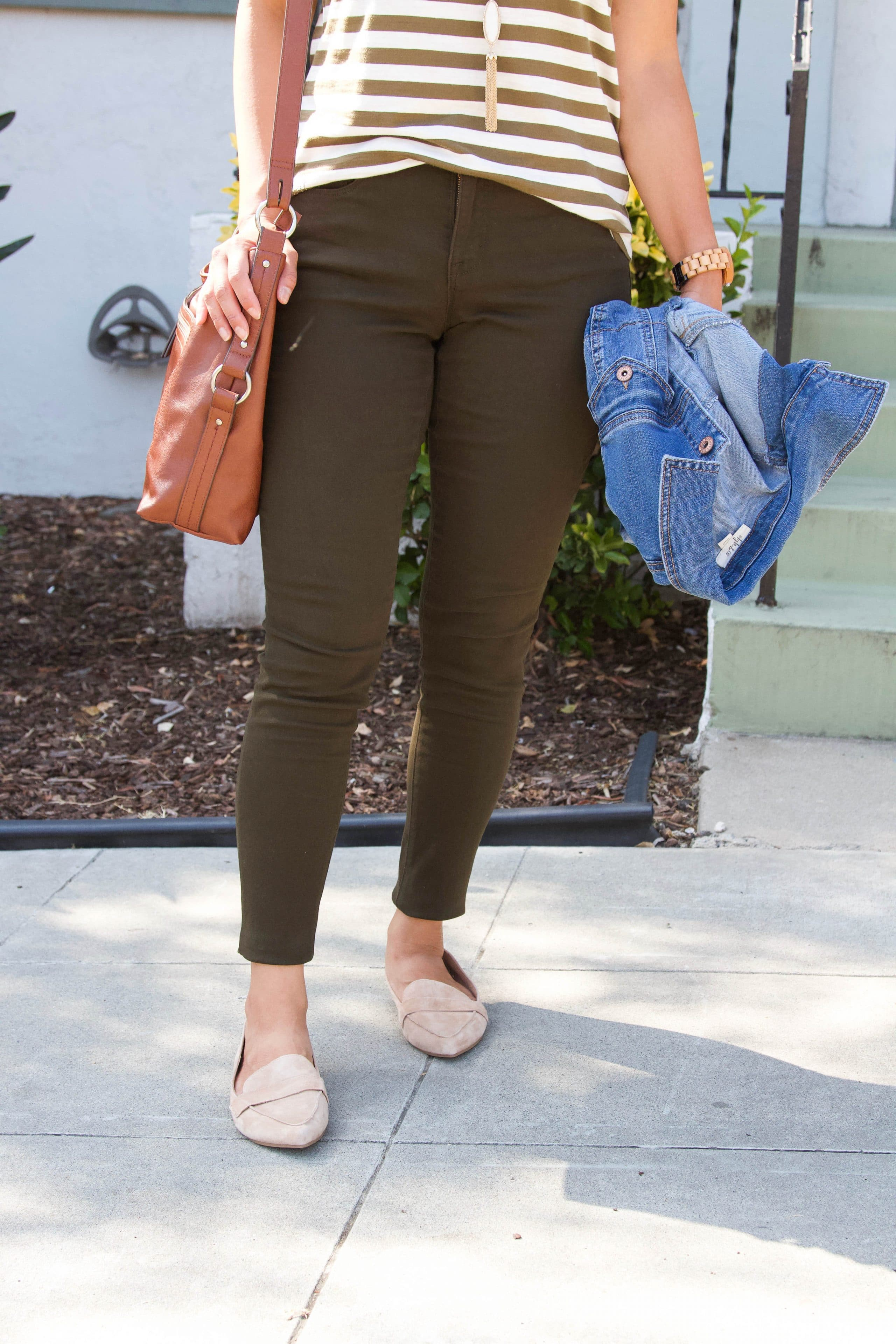 tan loafers + brown and white striped tee + brown pants + denim jacket + cognac purse