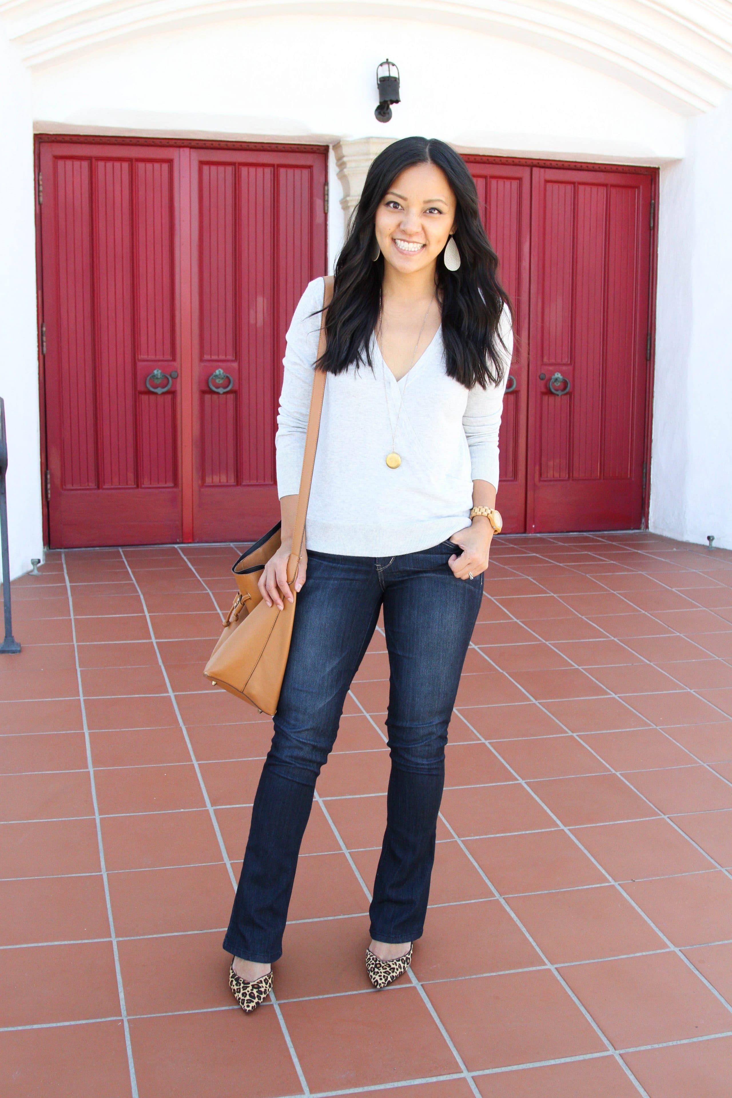 grey sweater + bootcut jeans + leopard print heels