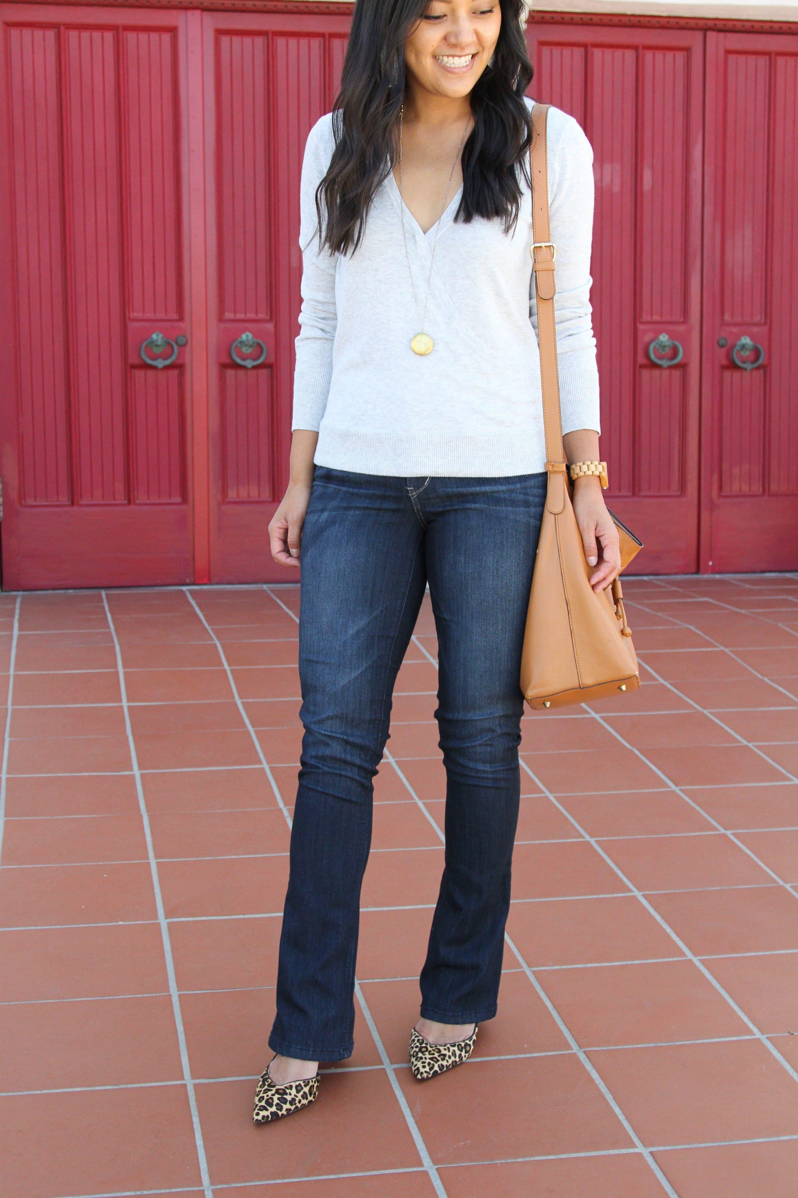 bootcut jeans + grey sweater + leopard print heels