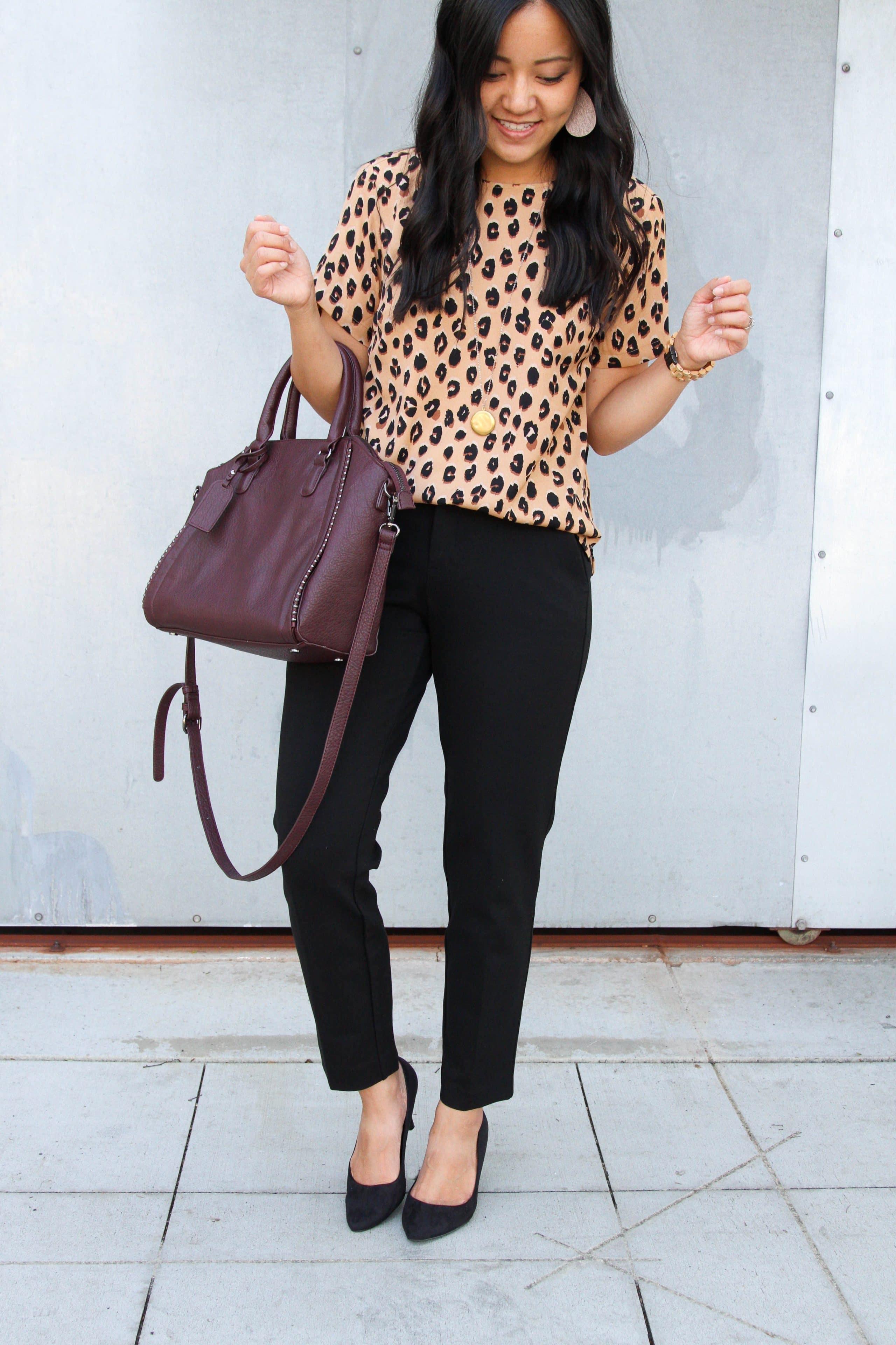 business casual + black pants + leopard print top + black heels + maroon tote