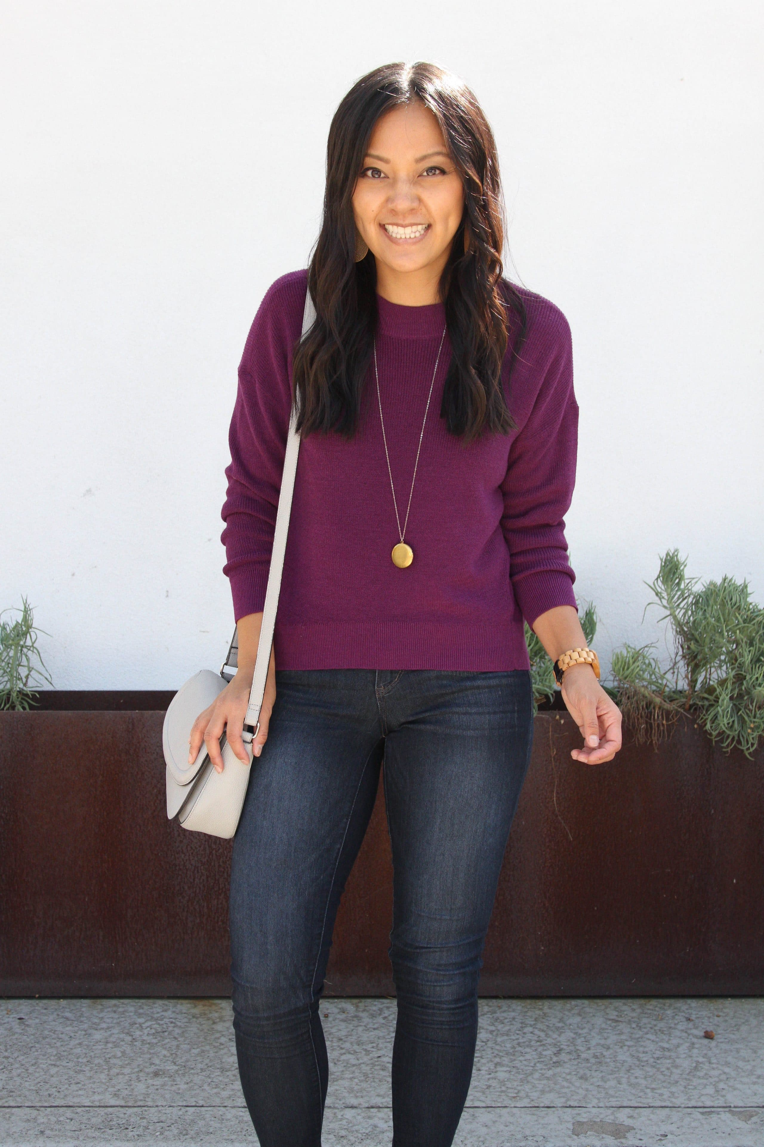 maroon sweater + brown booties + skinny jeans + grey purse + long pendant necklace