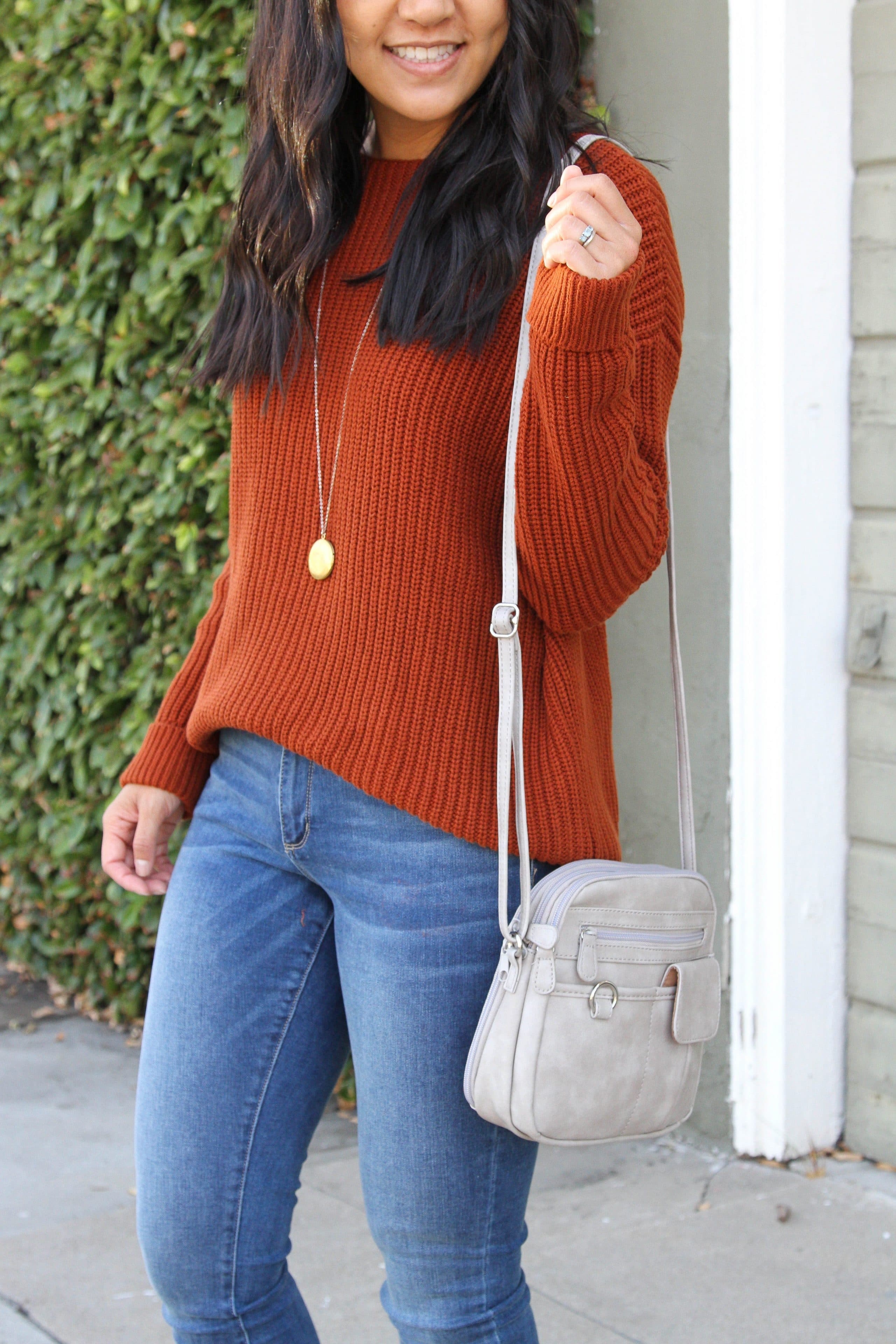 taupe booties + rust orange sweater + skinny jeans + grey purse