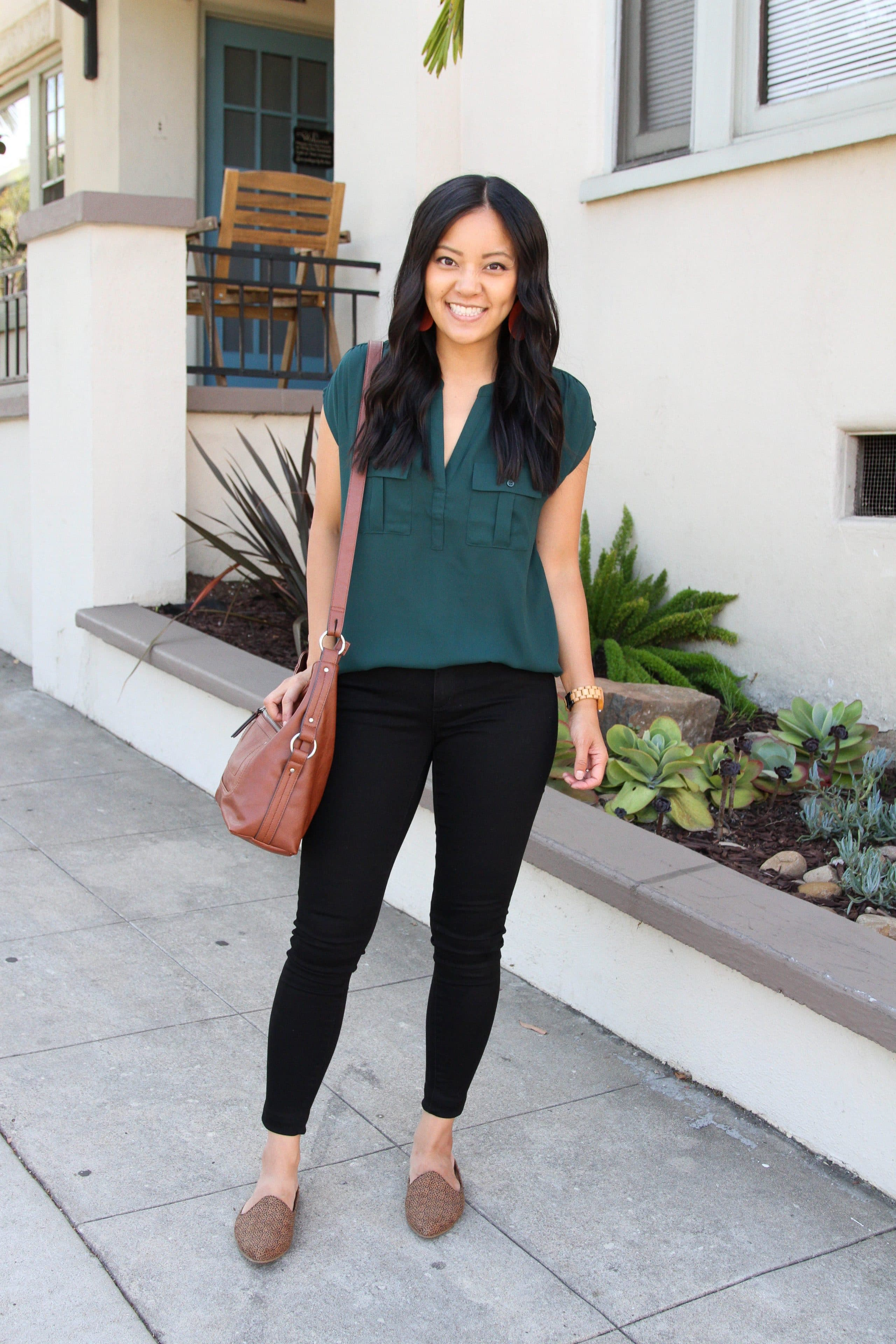 business outfit: Hunter green top + leopard print mules + black skinny pants + cognac tote