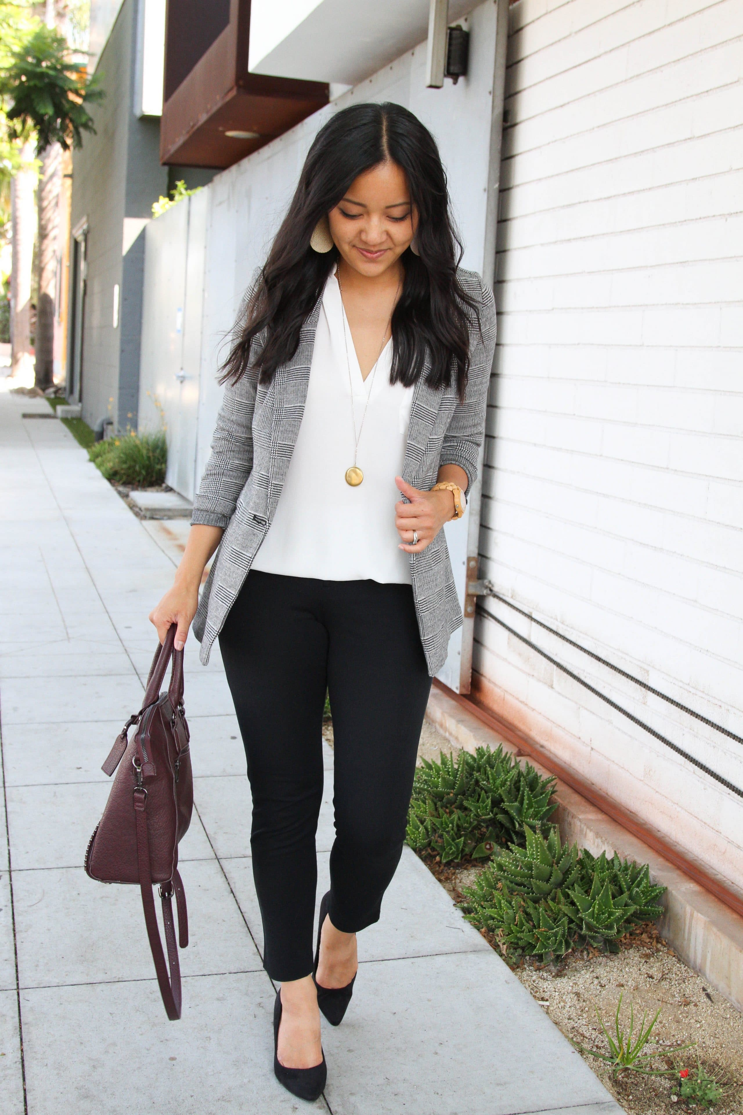 business casual: grey and white blazer + white blouse + black pants + black flats + maroon purse