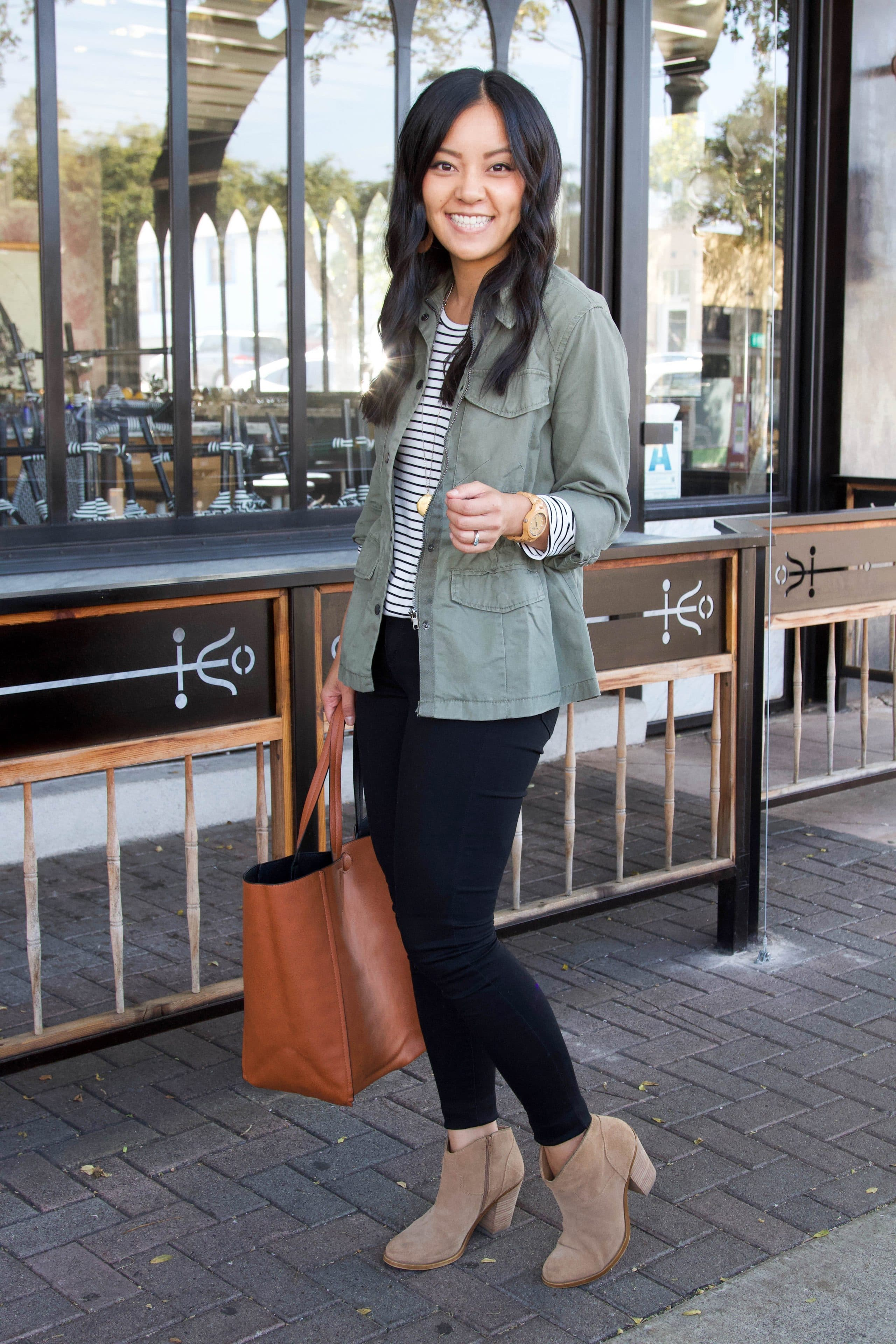 utility jacket + striped tee + black jeans + taupe booties casual fall outfit
