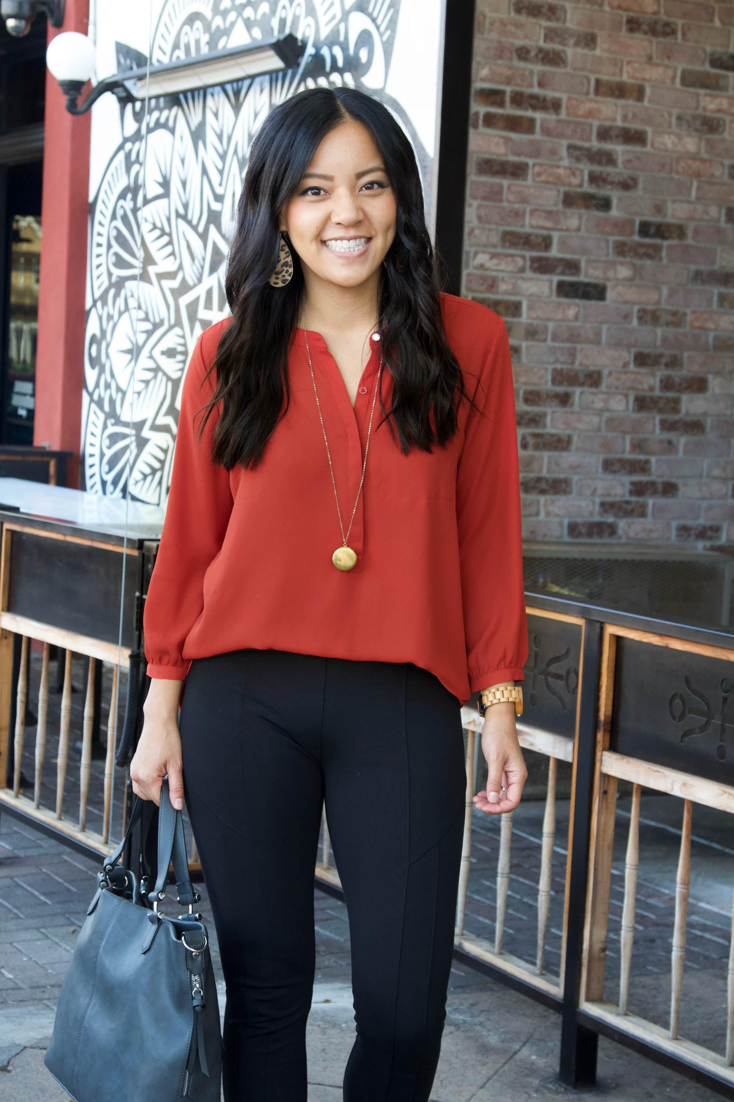 leopard print booties + burnt orange blouse + black skinny pants + grey purse + business casual outfit