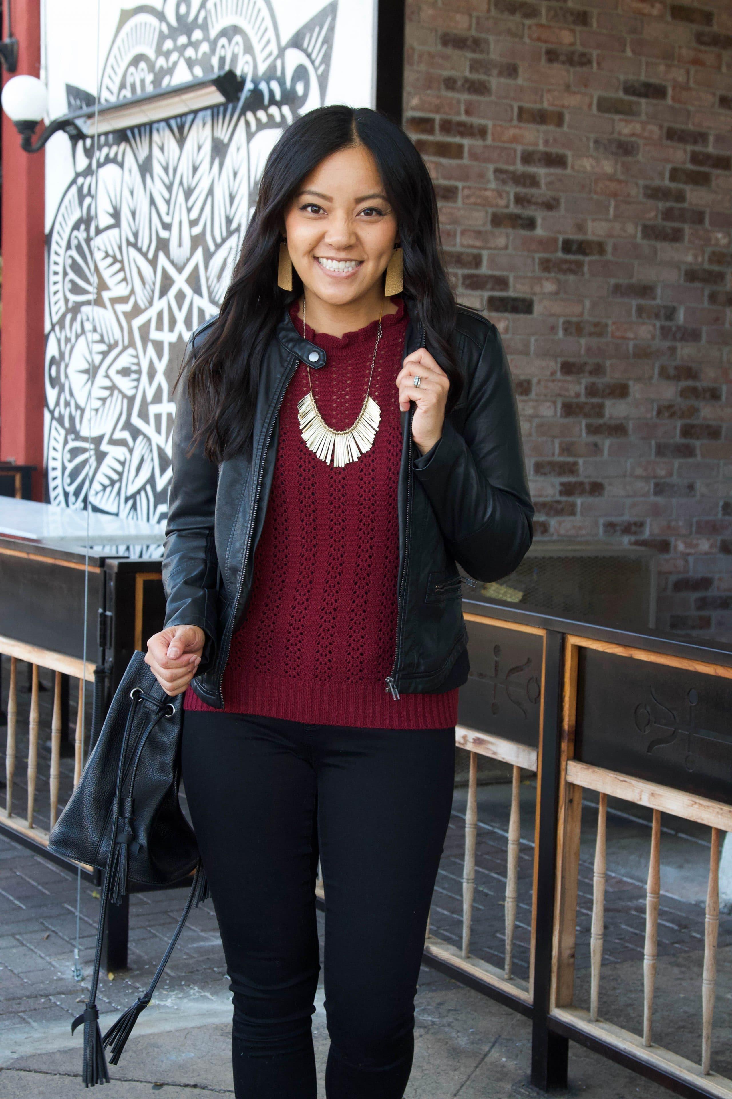 maroon sweater + black leather jacket + black skinny pants + leopard print heels + black purse