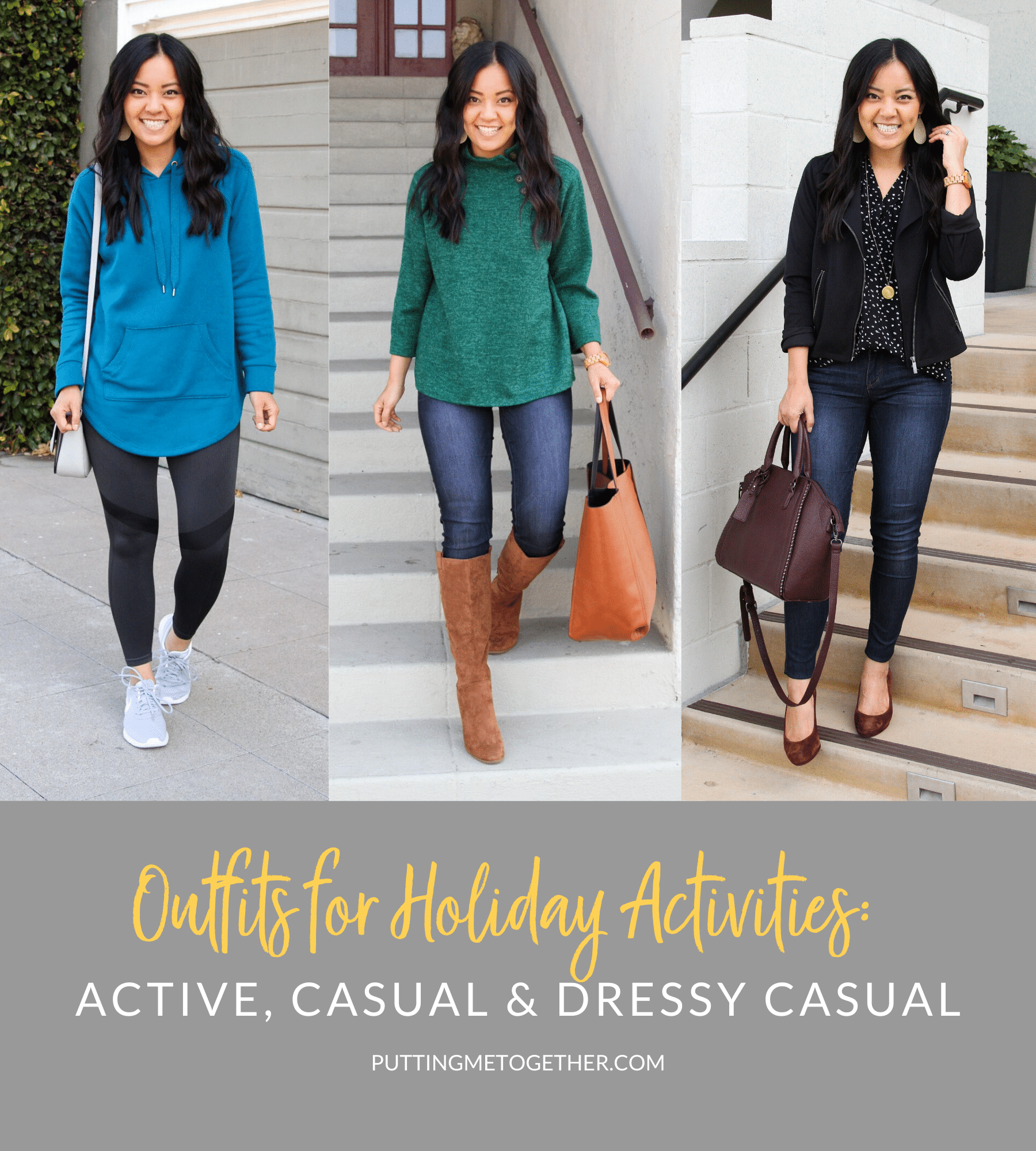 Outfits for Holiday Activities: Active, Casual & Dressy casual
