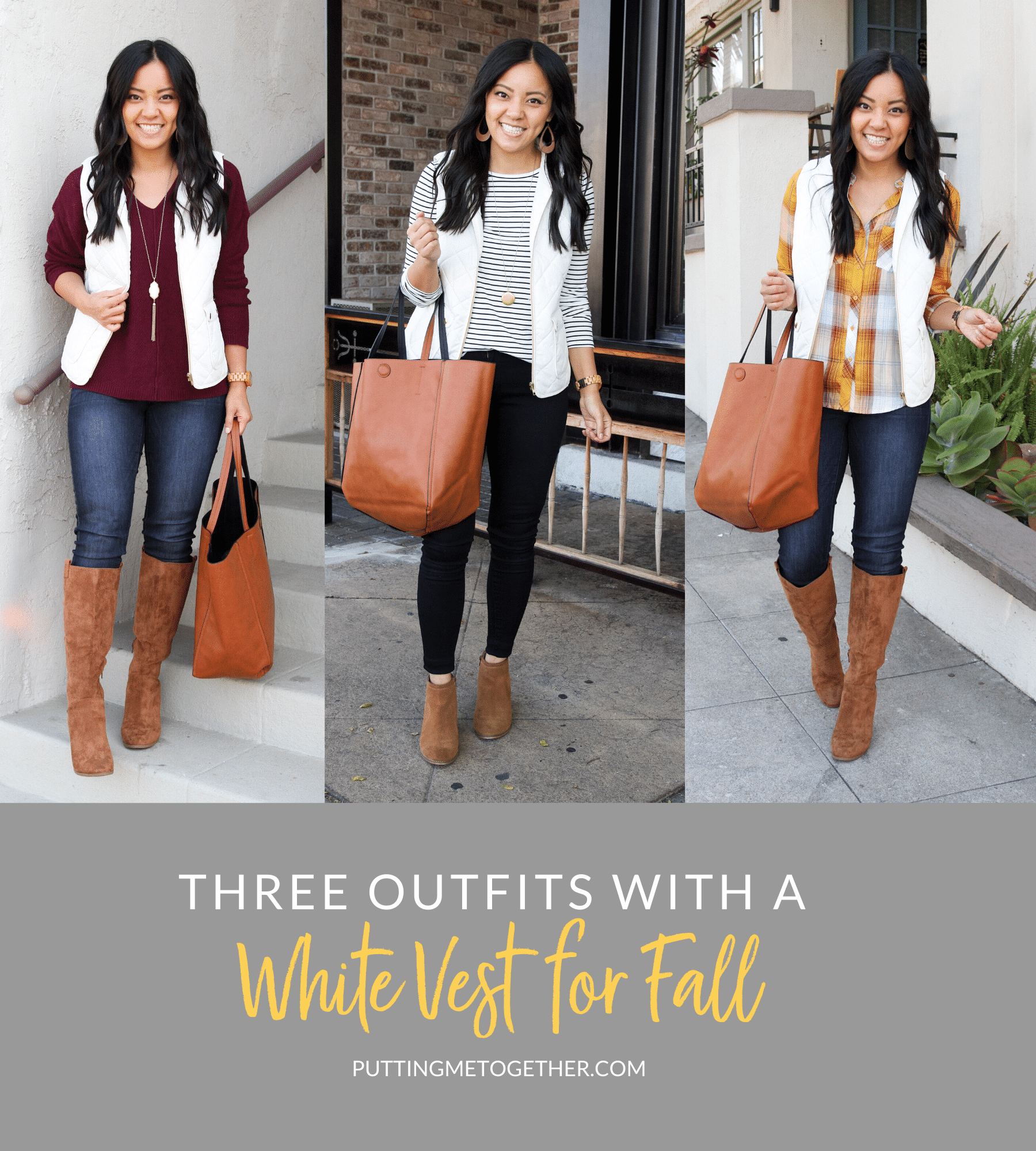 3 Outfits with a White Vest for Fall