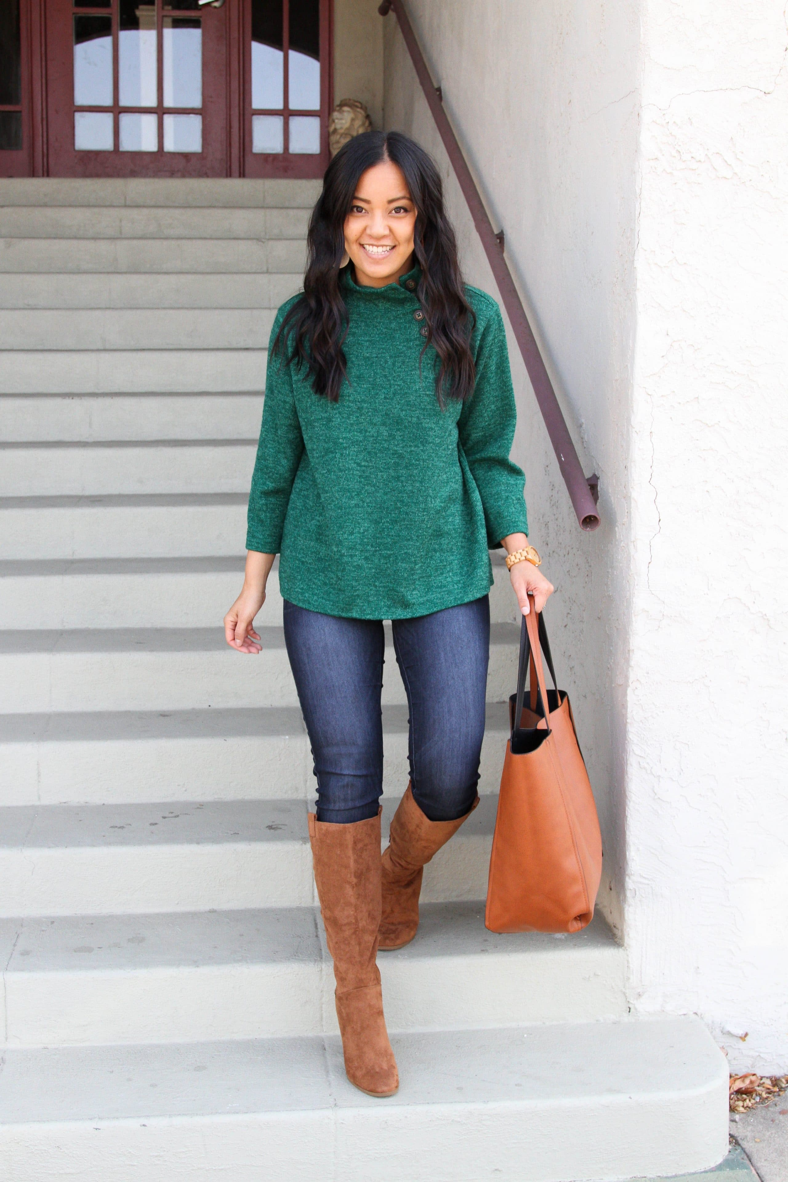 green sweater + skinny jeans + suede boots + cognac tote