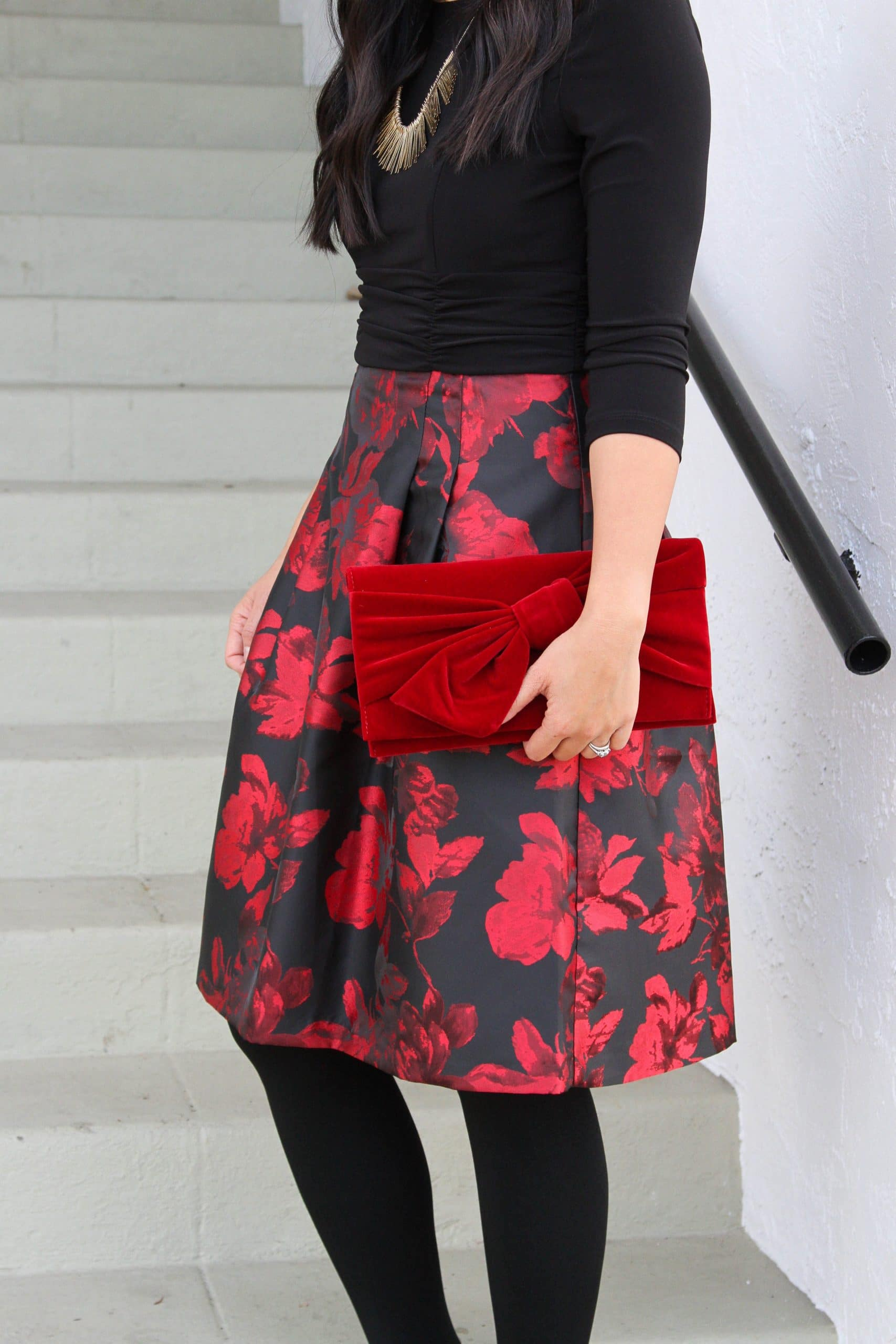 black flats + red and black floral dress + black tights