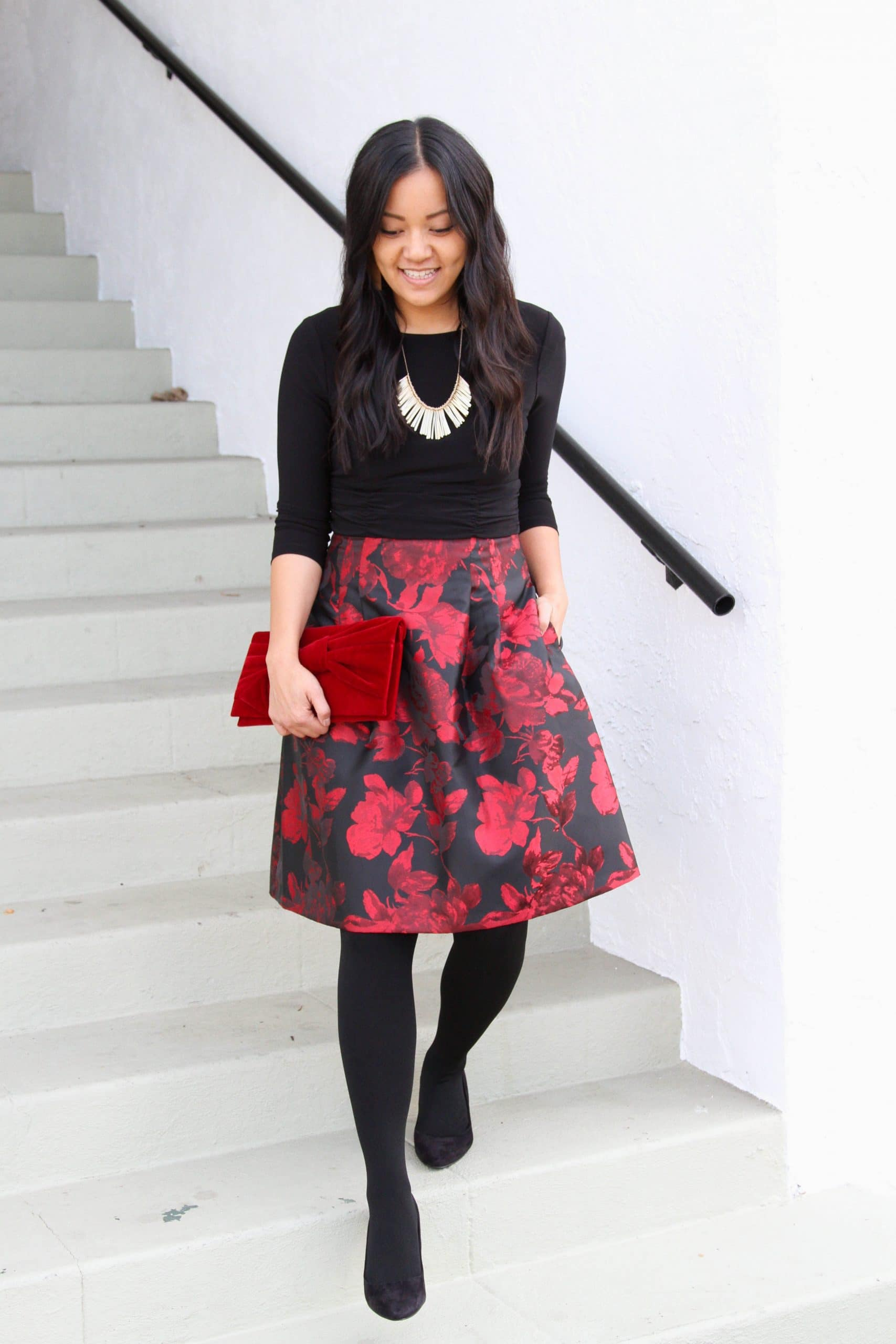 black tights + red and black floral dress + black flats