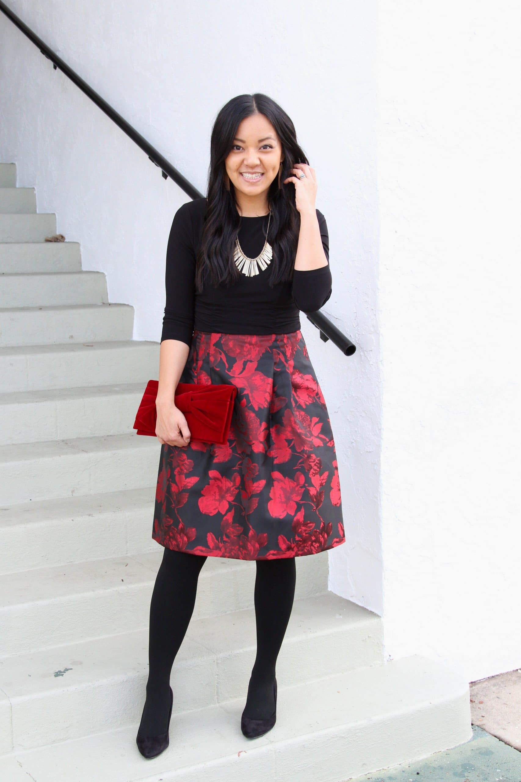 red and black floral dress + black tights + black flats