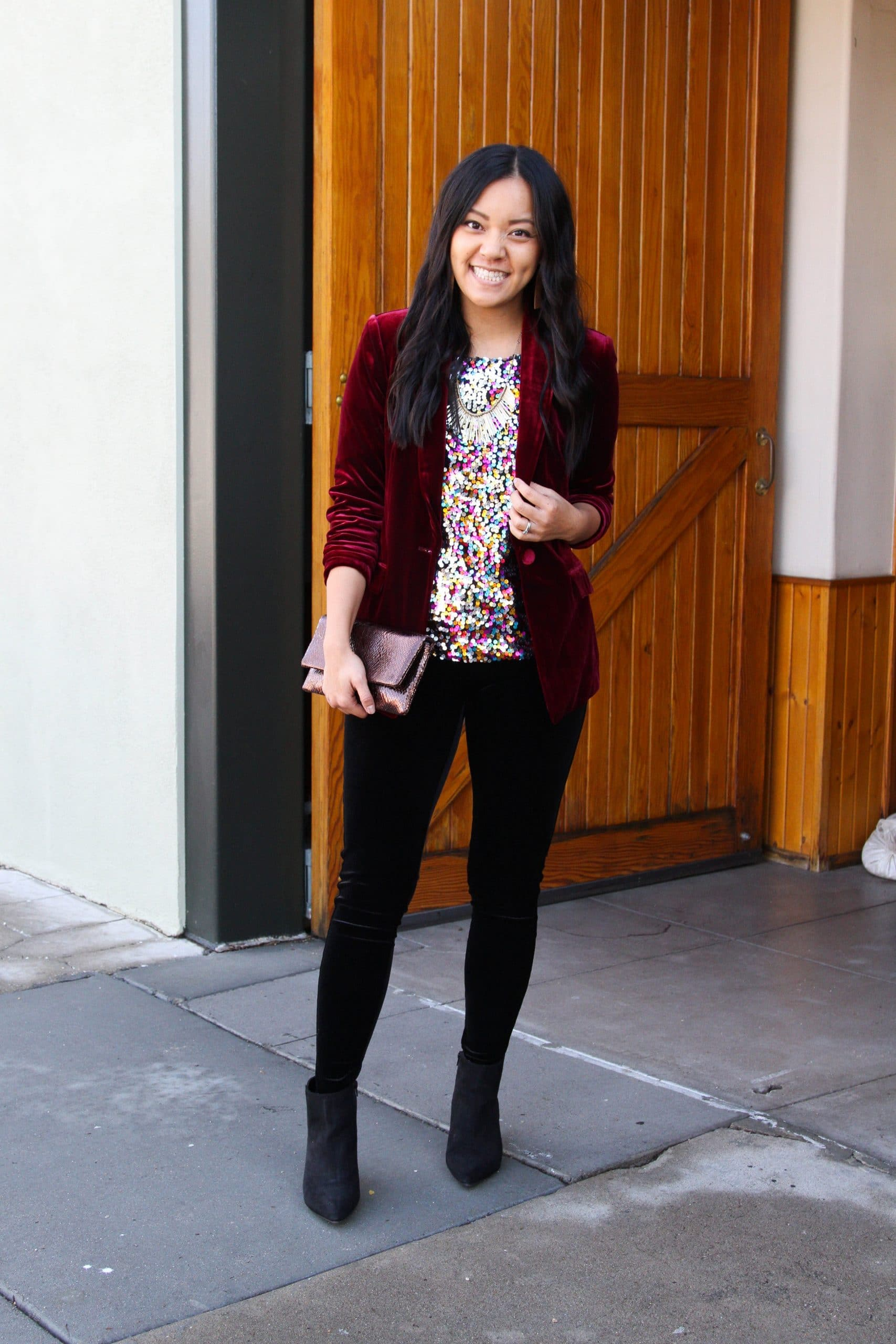 black velvet leggings + colored sequins top + maroon velvet blazer + black booties