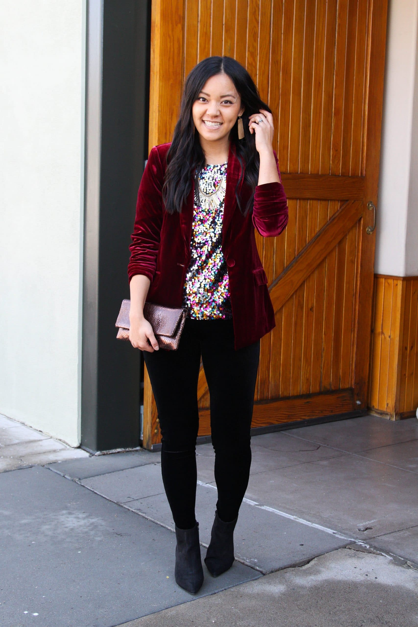 colored sequins top + maroon velvet blazer + black velvet leggings + black booties