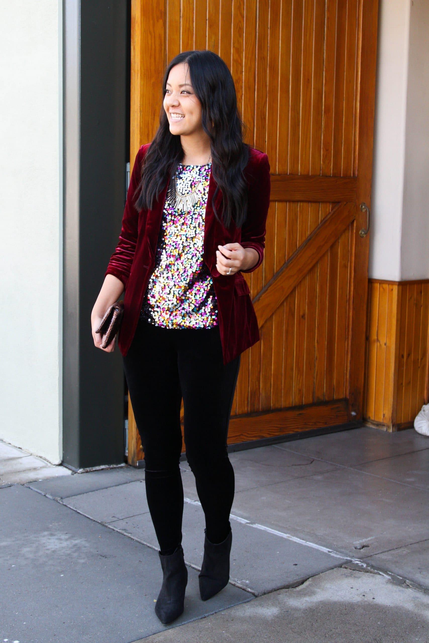 Colored Sequins Top Maroon Velvet Blazer Black Velvet Leggings Black Booties Outfit 3 Putting Me Together