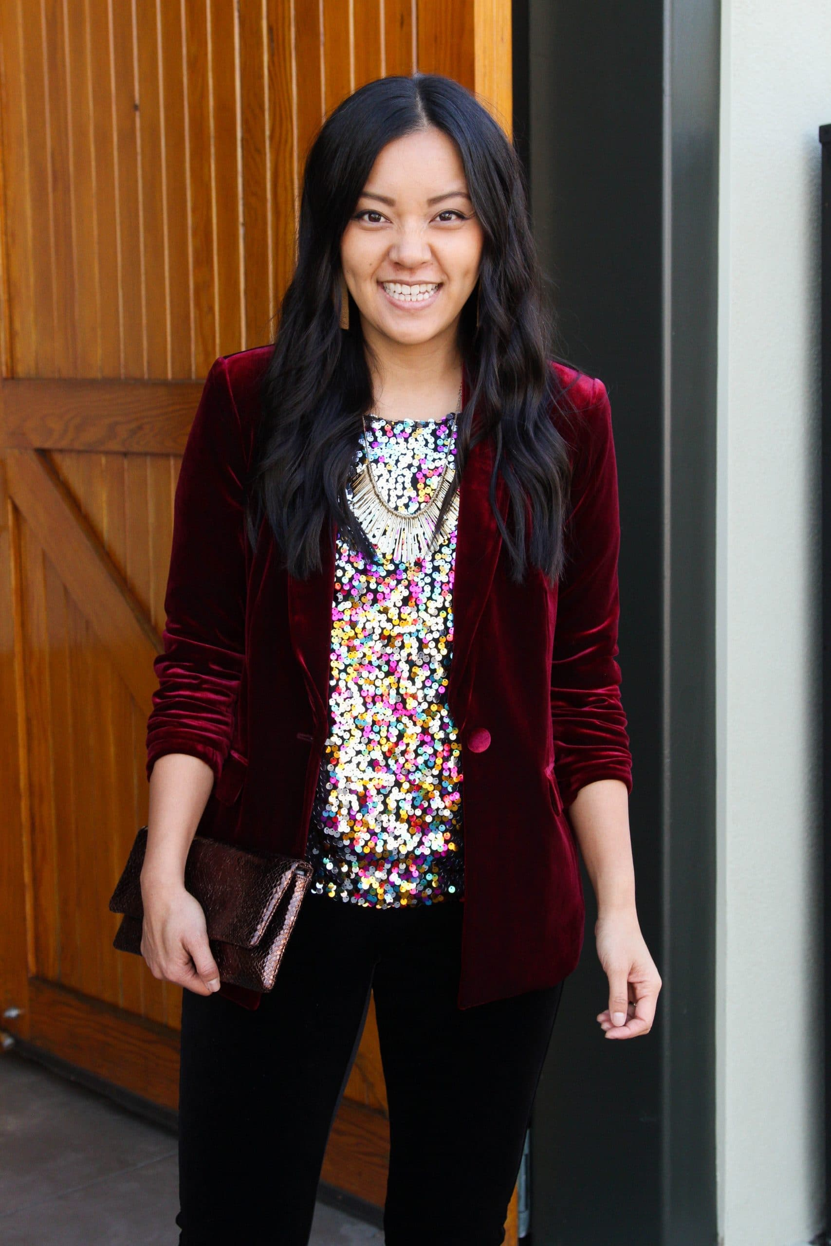 maroon velvet blazer + colored sequins top + black velvet leggings + black booties