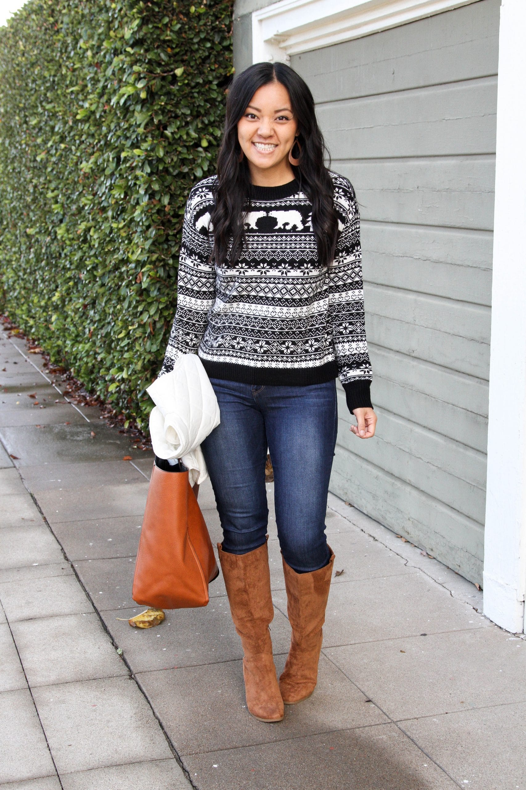 fair isle sweater + skinny jeans + brown boots