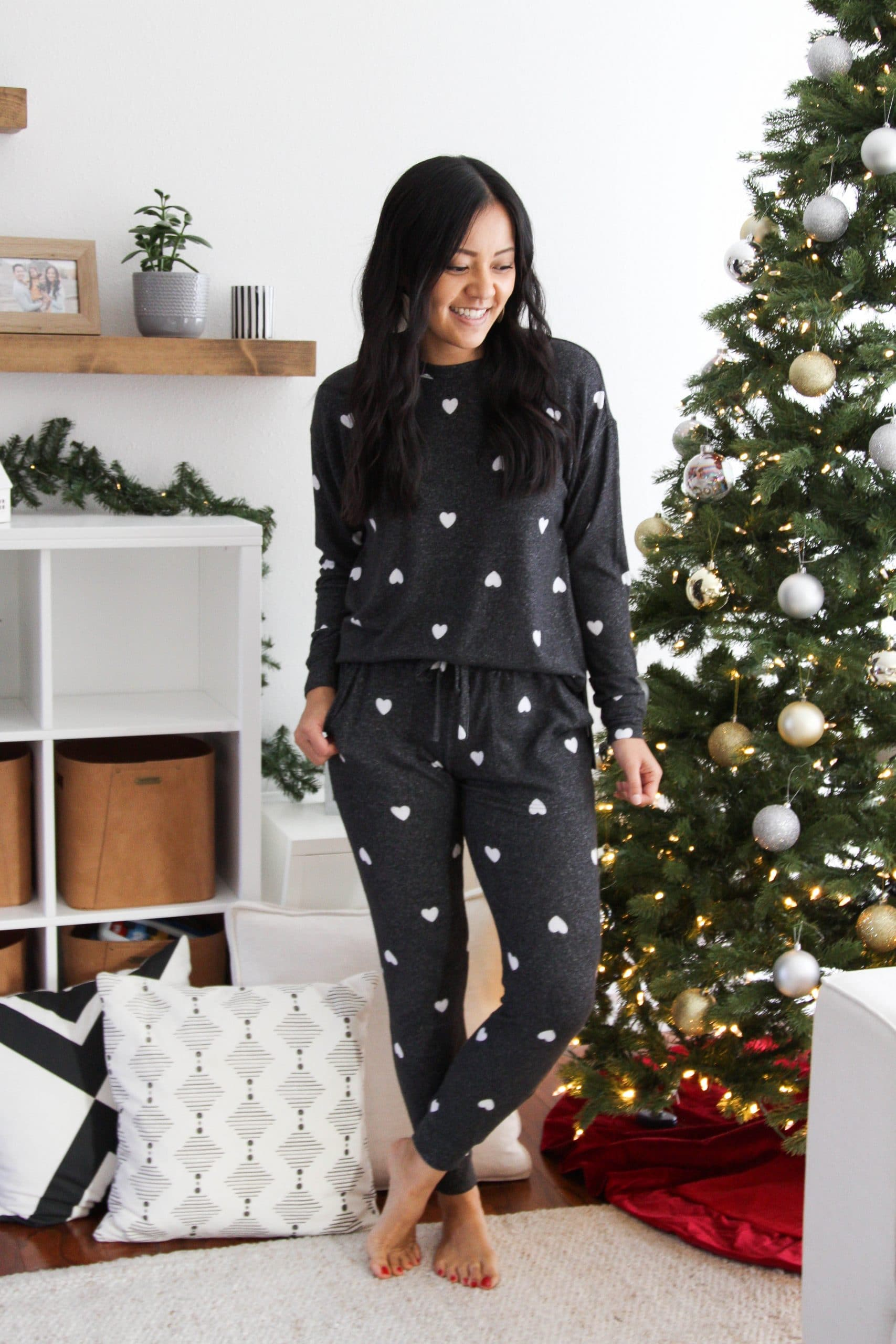cute loungewear + black and white heart sweatshirt and joggers