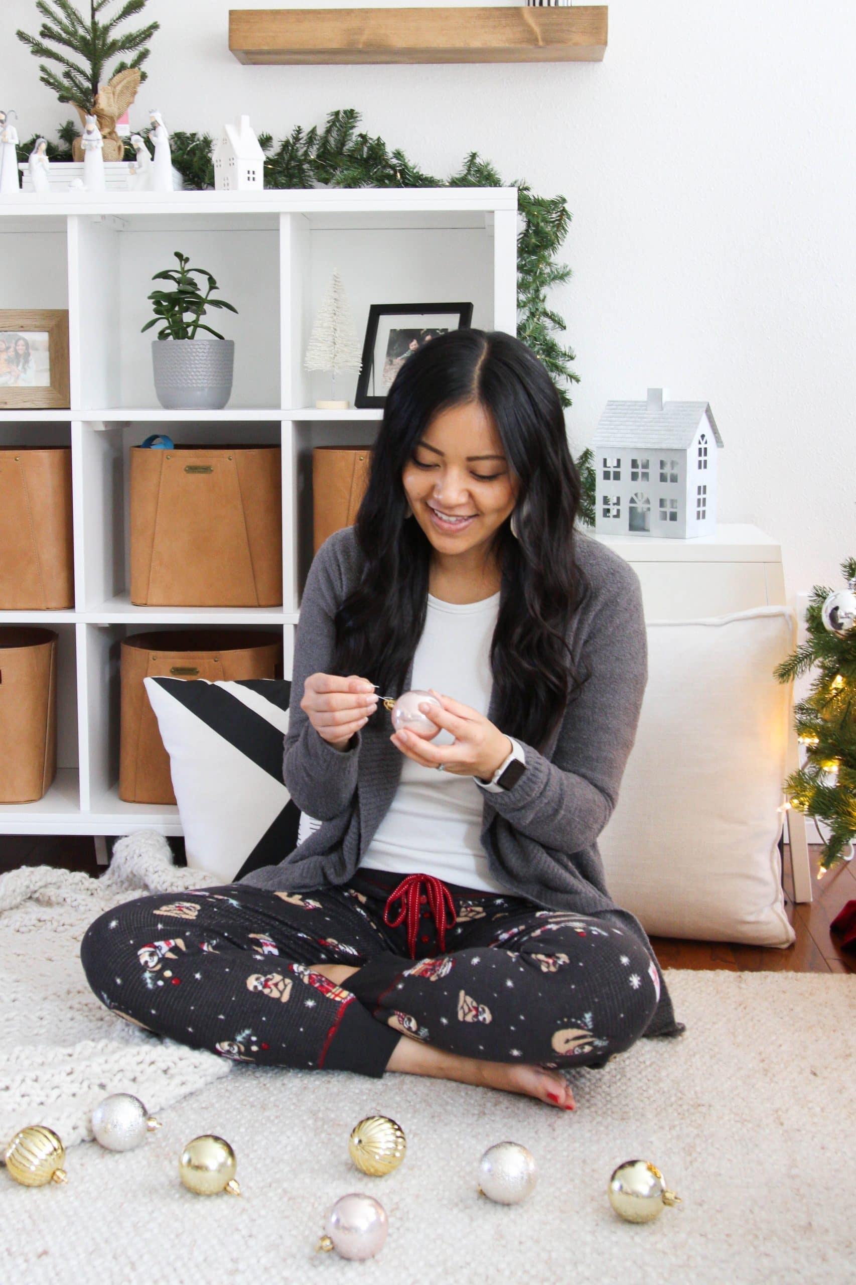 printed thermal fleece pants + white top + grey Barefoot Dreams sweater + cute loungewear